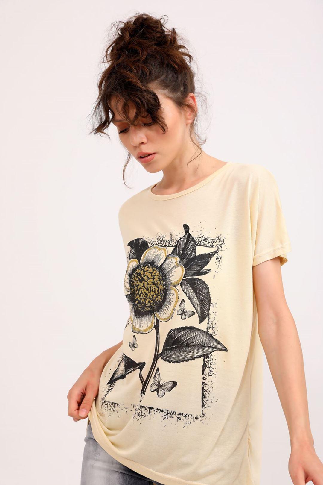 Çiçek Baskılı Bisiklet Yaka T-shirt Taş