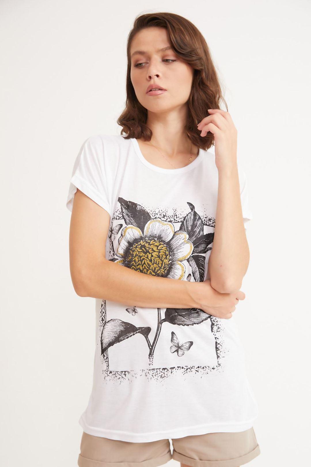 Çiçek Baskılı Bisiklet Yaka T-shirt Beyaz