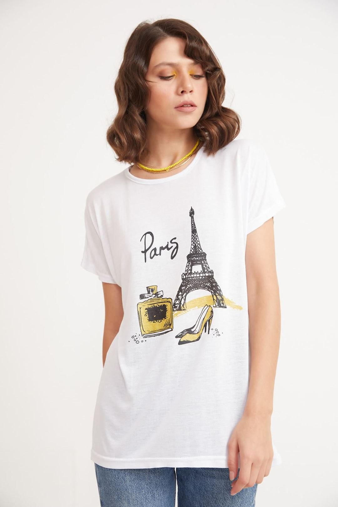 Paris Baskılı Bisiklet Yaka T-shirt Beyaz