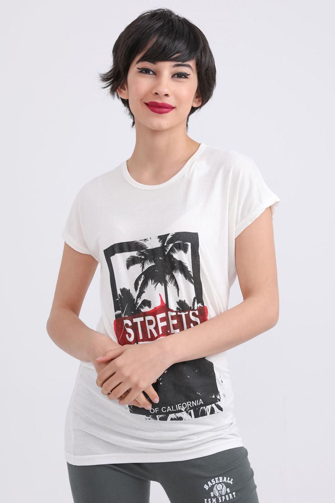 Steerts Baskılı Bisiklet Yaka T-shirt Krem