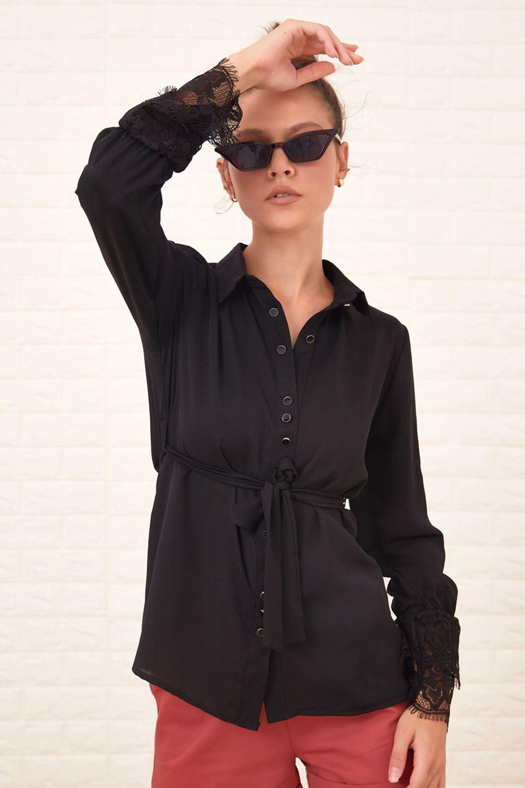 Kol Ucu Dantelli Gömlek Siyah