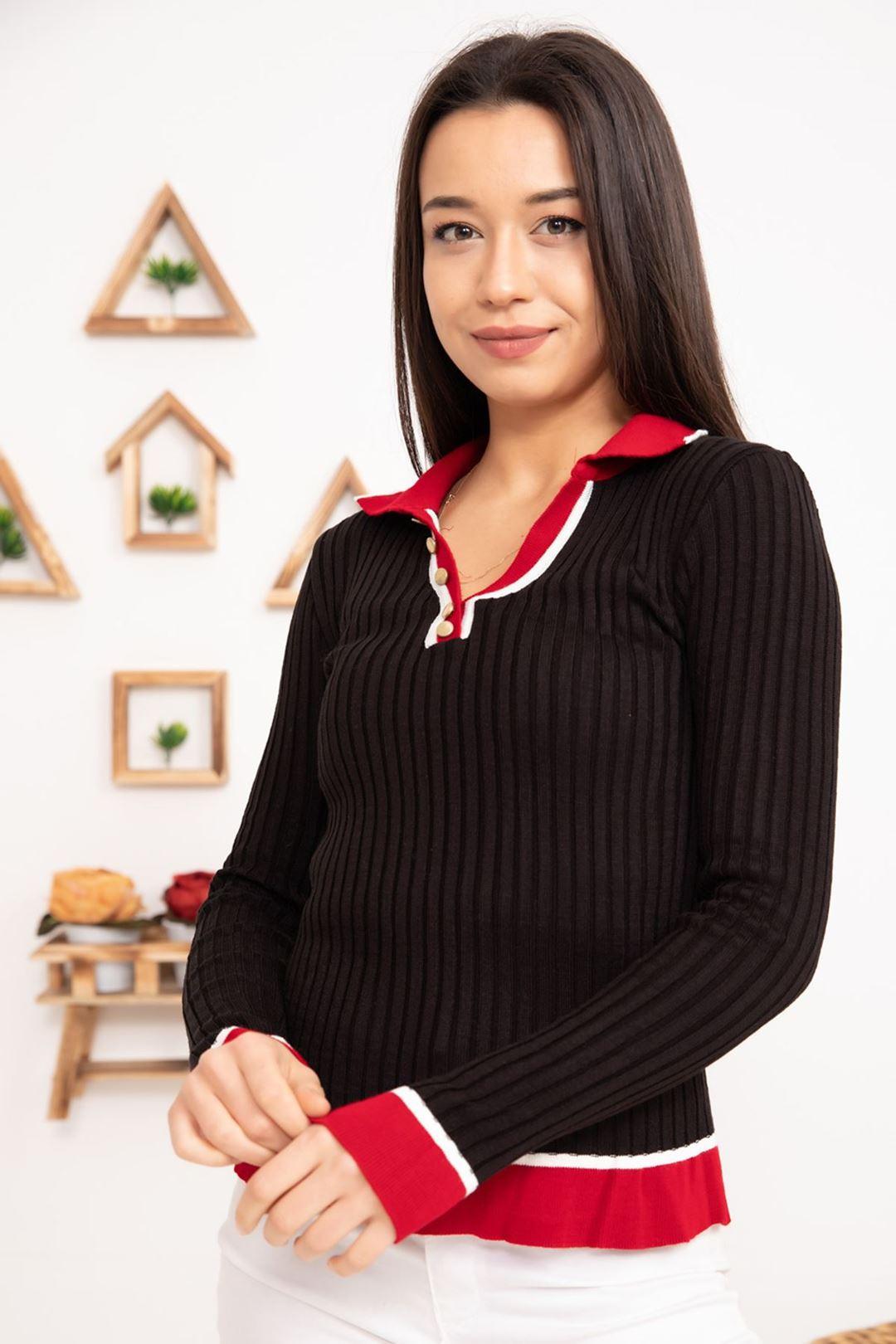 Yaka Detaylı Triko Bluz Siyah