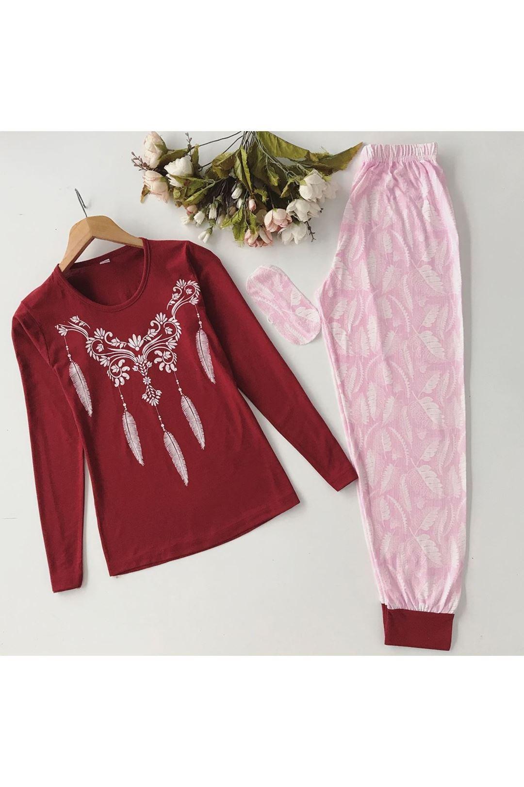 Tüy Baskılı Göz Bantlı Kadın Pijama Takımı 1231791