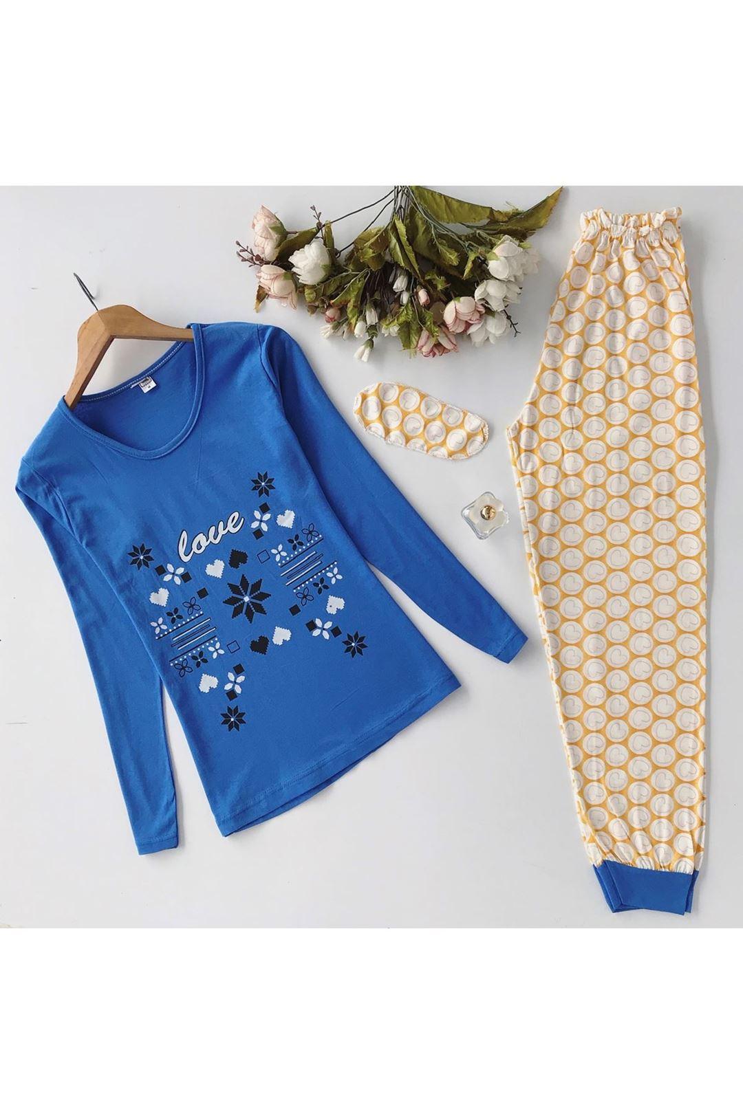 Love Baskılı Göz Bantlı Kadın Pijama Takımı 1231801