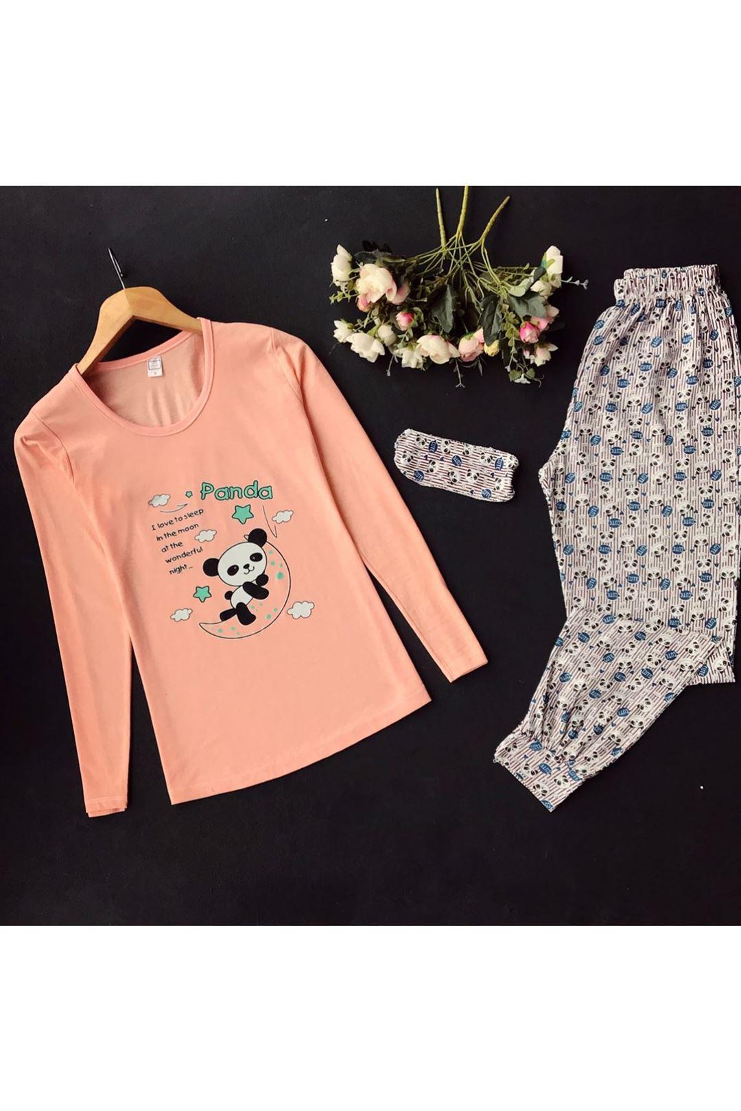 Panda Baskılı Göz Bantlı Kadın Pijama Takımı 1231762