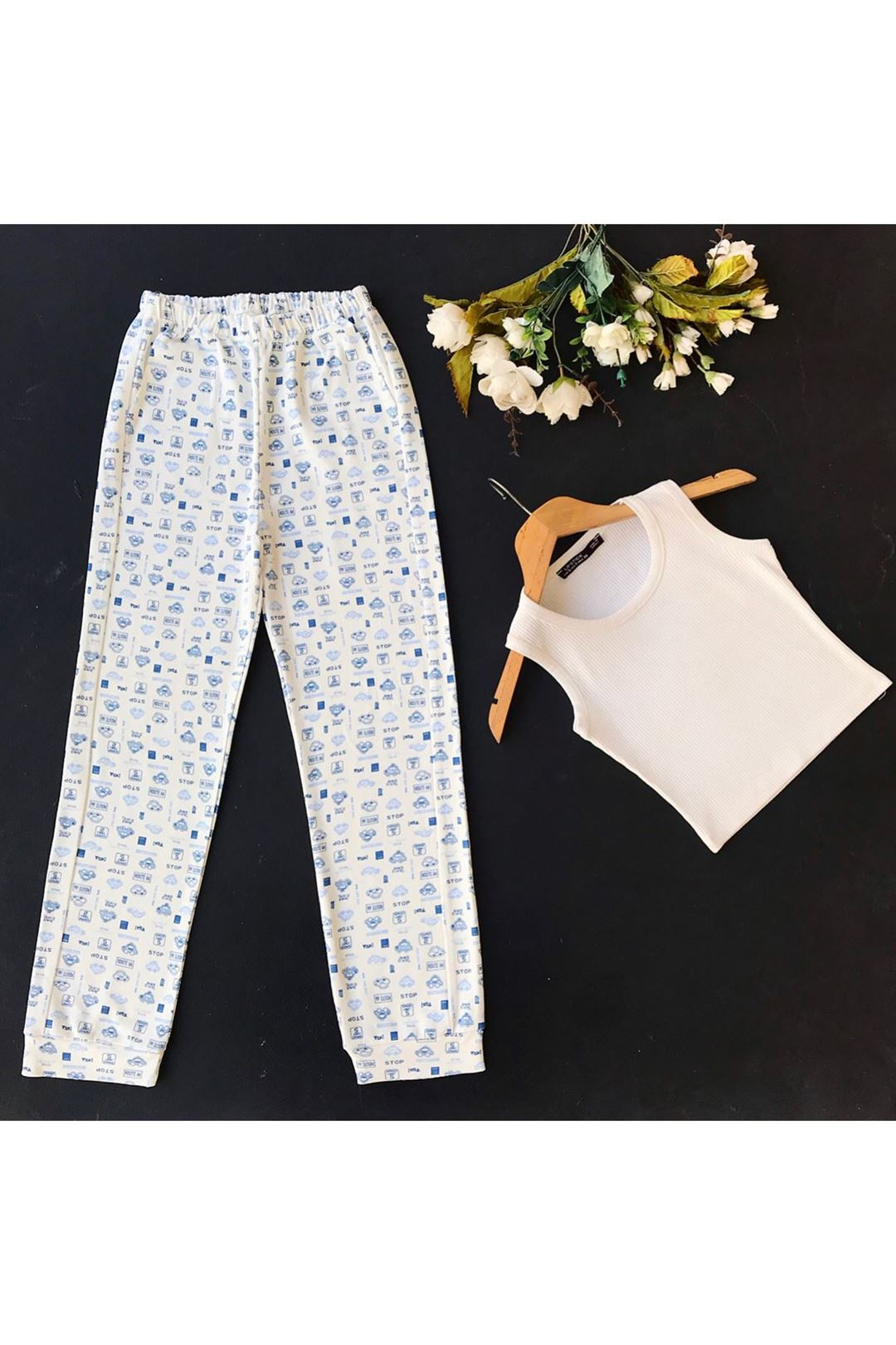 Cepli Beli Lastikli Kadın Alt Pijama 1227401
