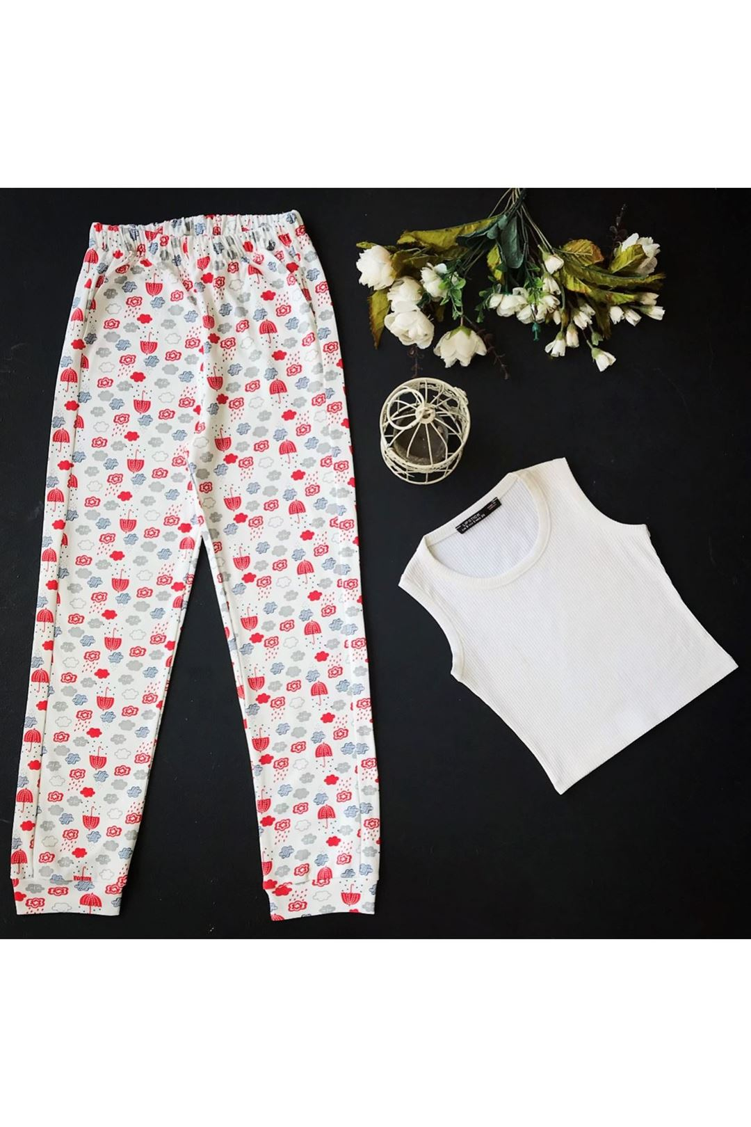 Cepli Beli Lastikli Kadın Alt Pijama 1227291