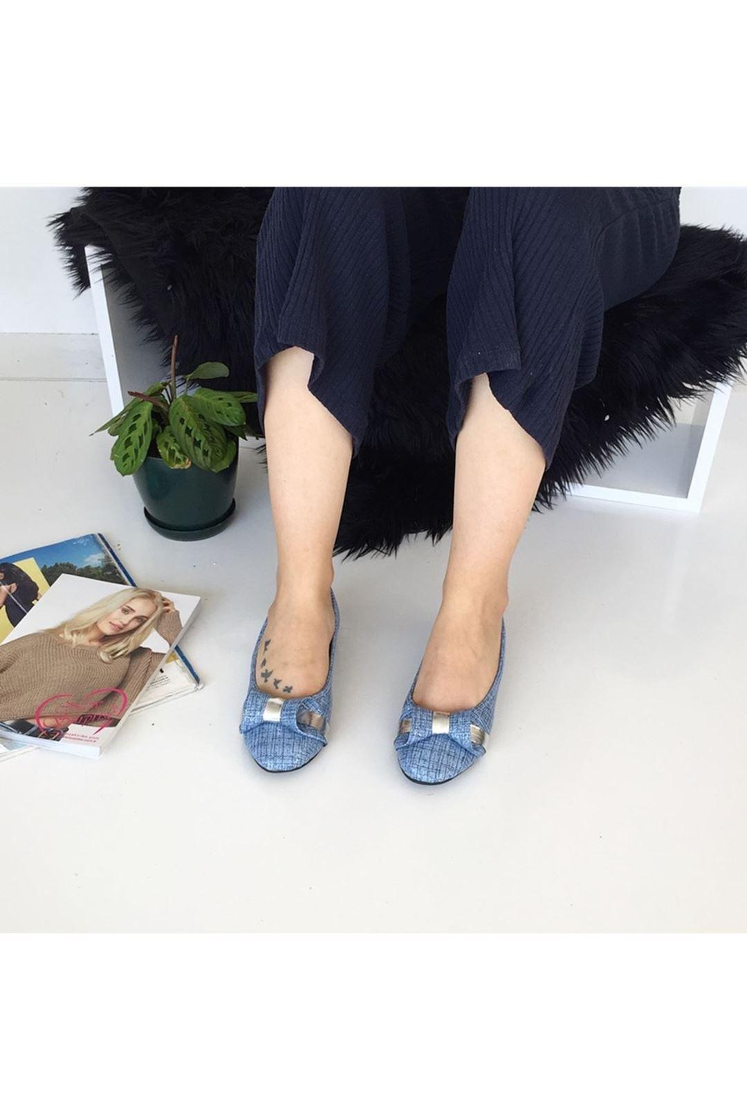 Tokalı Mavi Kadın Babet 1226341