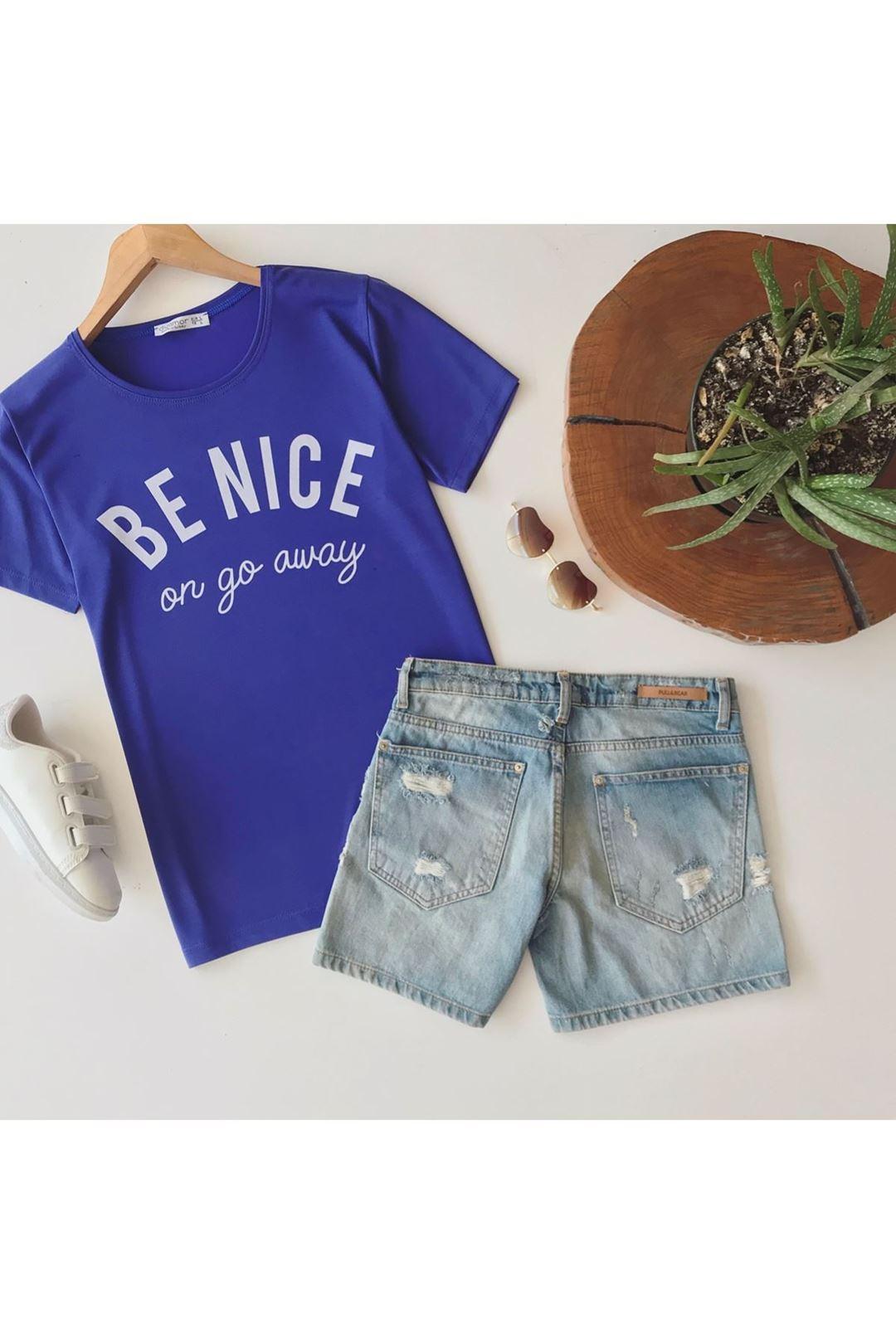 Be Nice Baskılı Kadın T-Shirt
