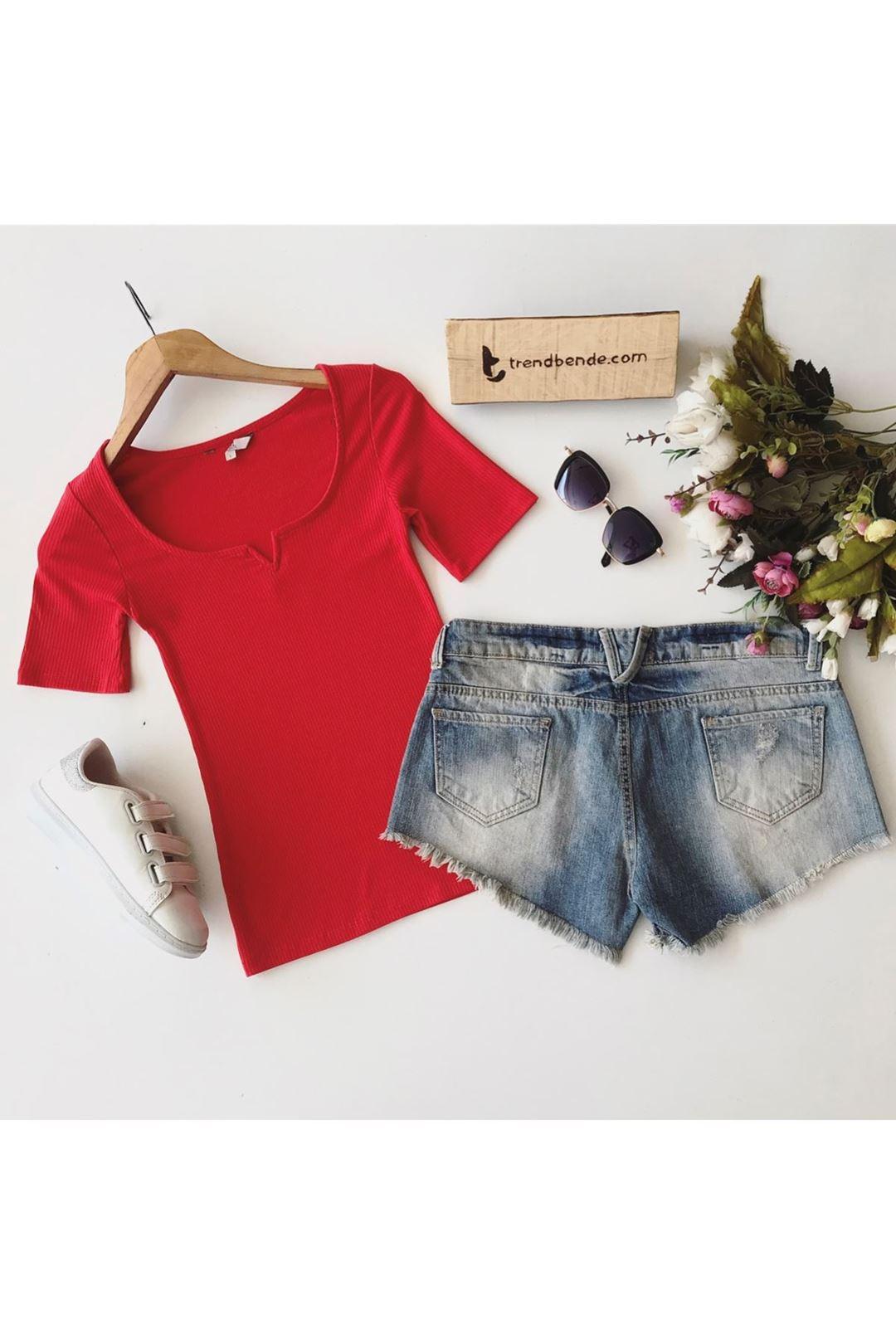 V Yaka Fitilli Kırmızı Kadın T-Shirt 1223421