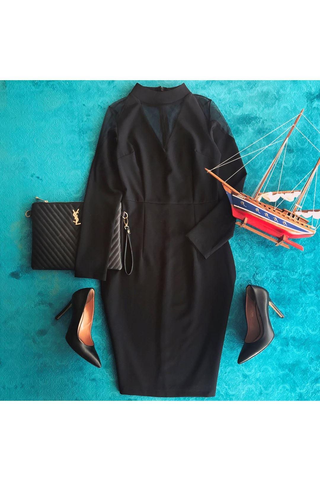 Tül Detaylı Siyah Elbise 65389