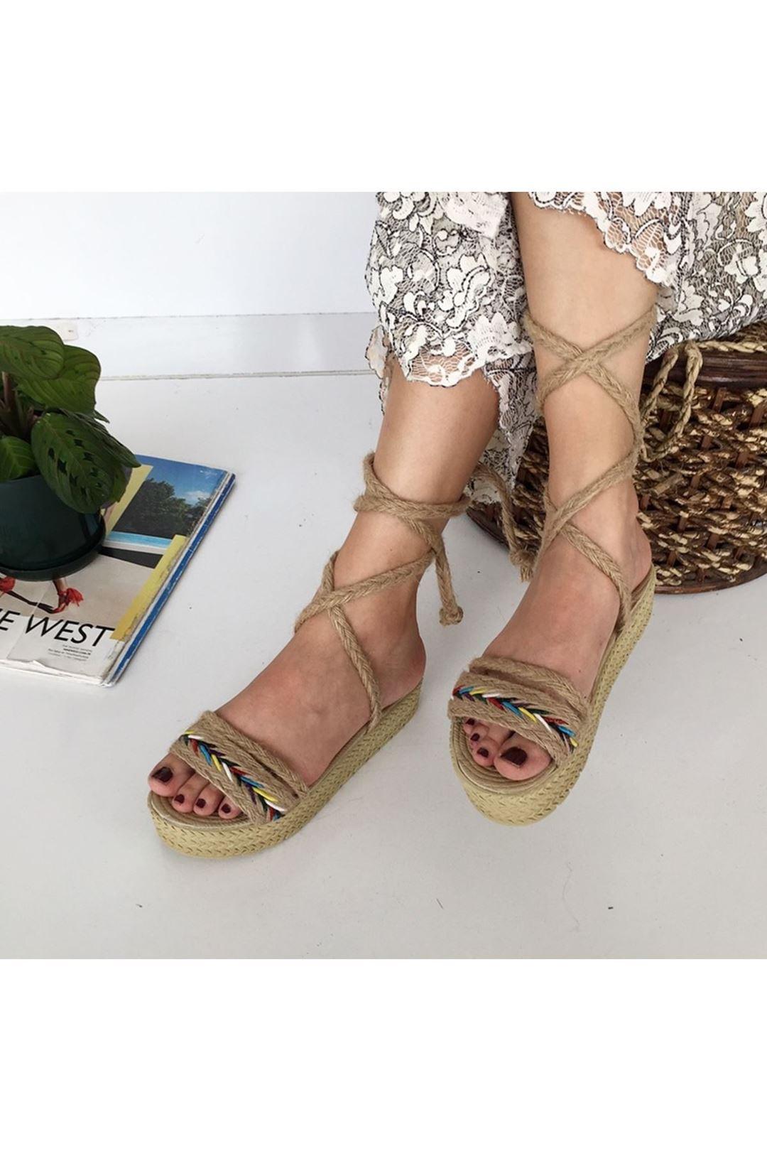 Bağcıklı Hasır Vizon Renkli Kadın Sandalet 112811