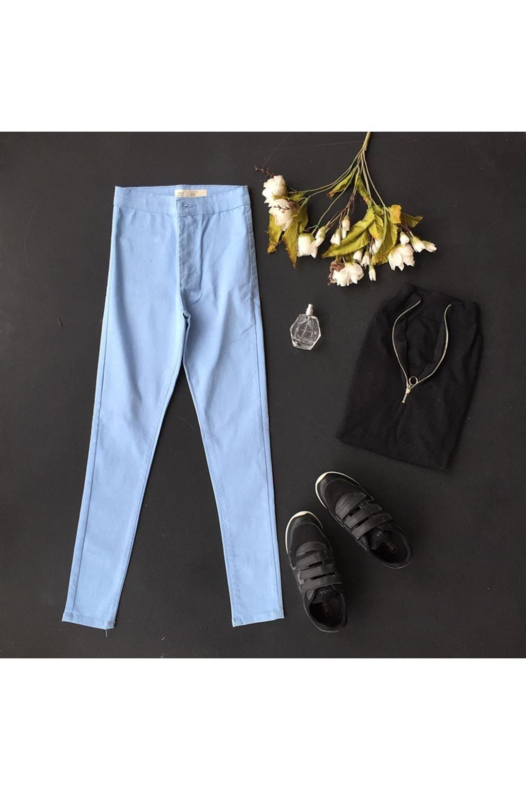 Mavi Yüksek Bel Kadın Pantolon 1209971