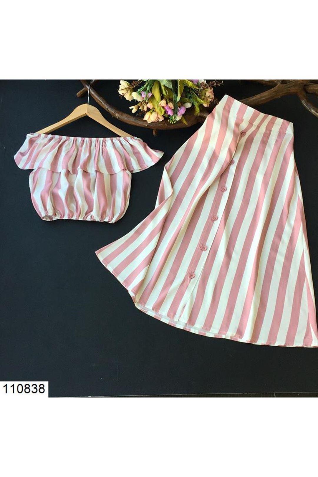 Çizgili Pudra Kadın Etek Bluz Takım 110838
