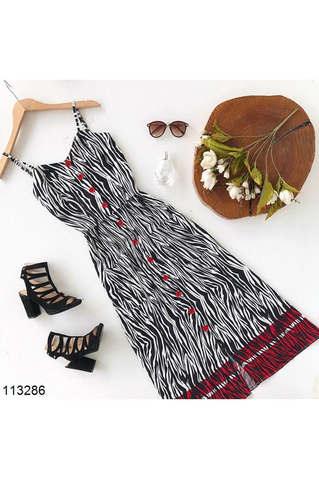 Askılı Düğmeli Kadın Elbise 113286