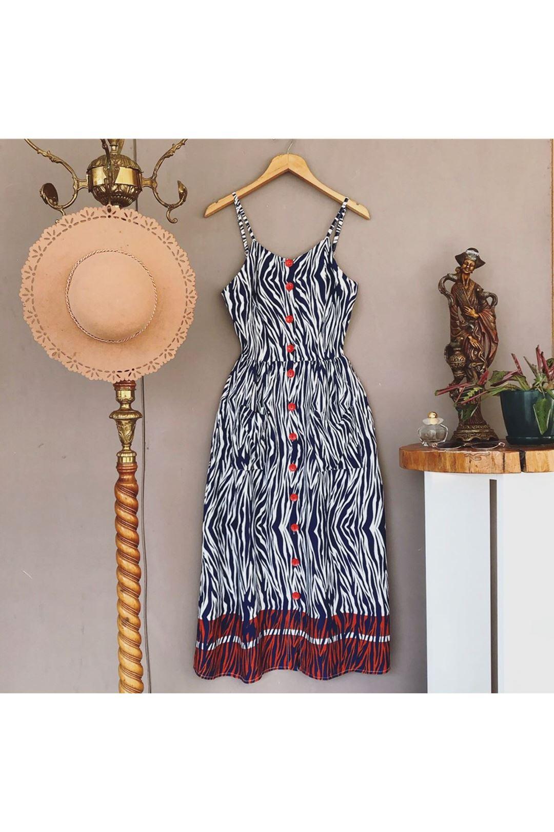 Askılı Desenli Lacivert Kadın Elbise 113284