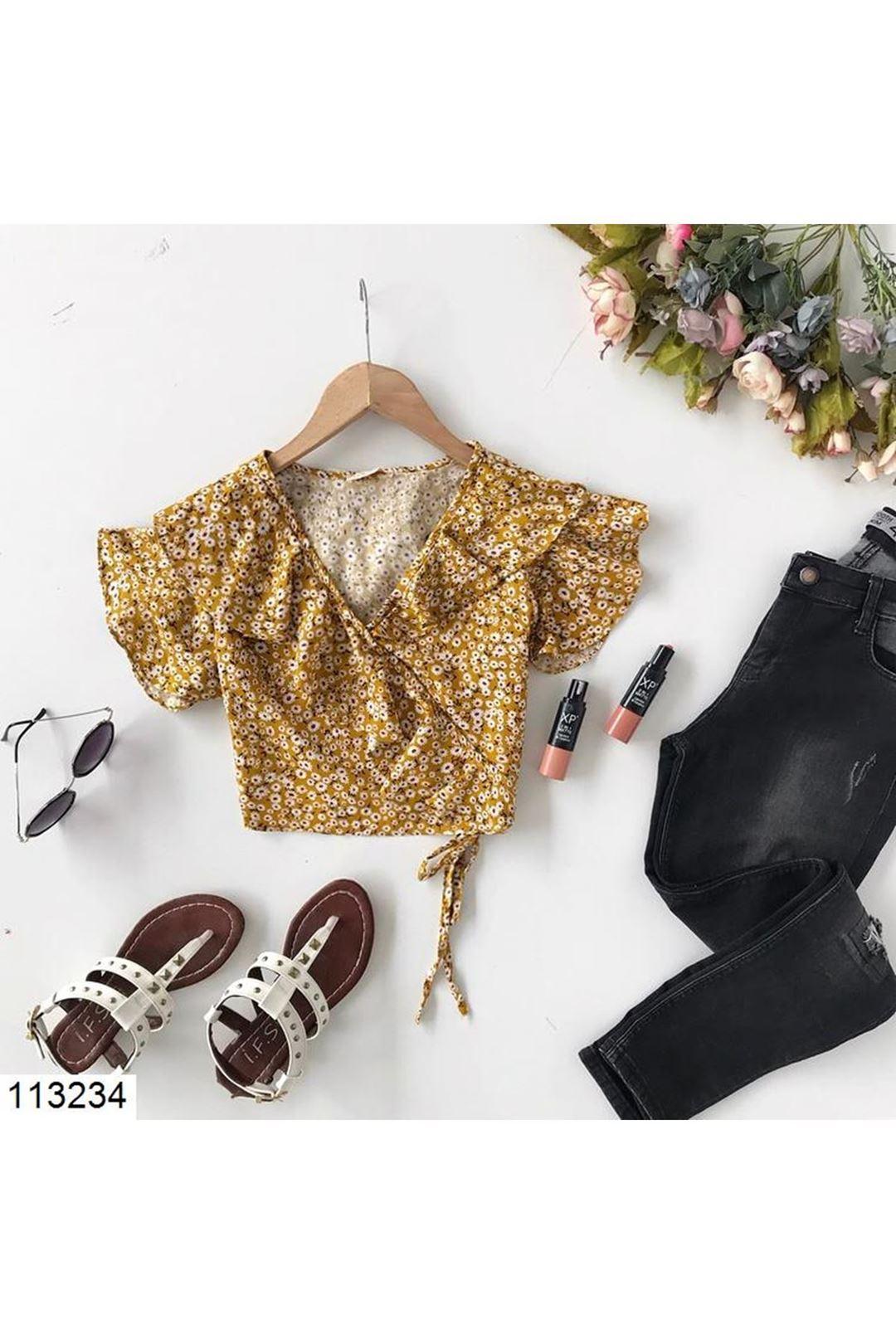 Kruvaze Yaka Sarı Kadın Bluz 113234