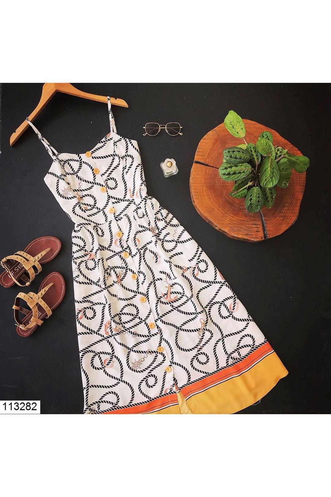 Askılı Düğmeli Kadın Elbise 113282