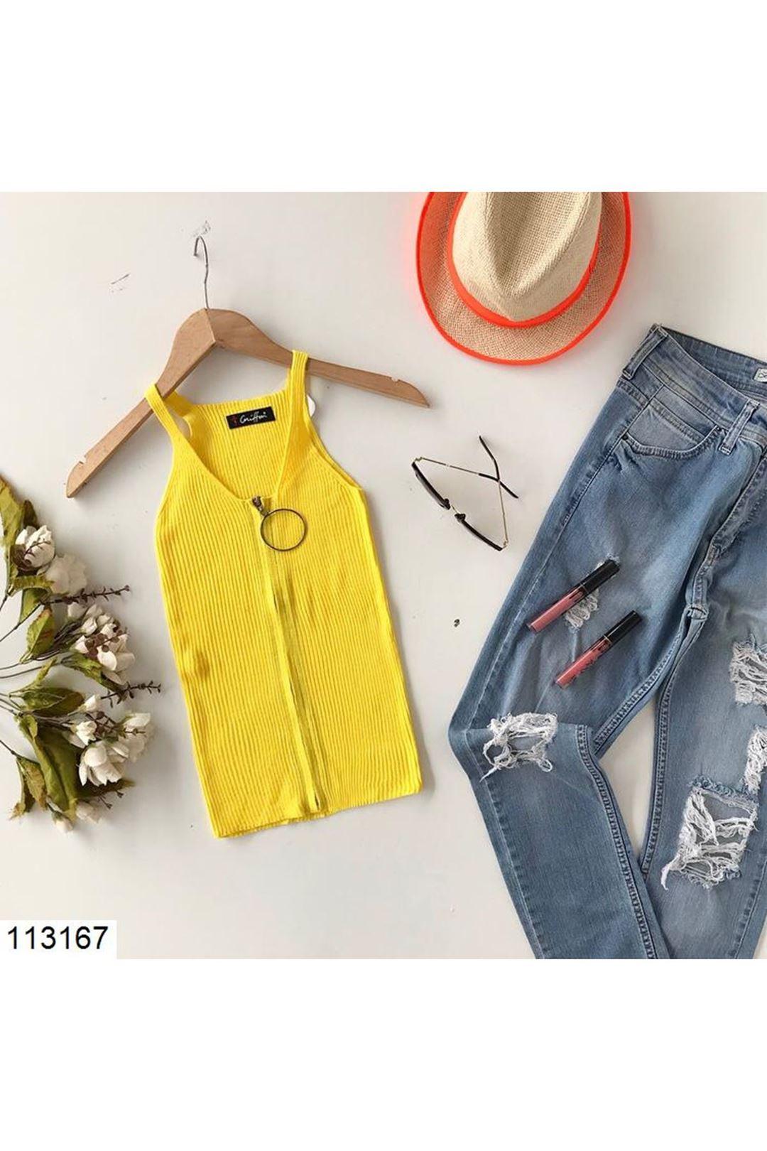 Fermuarlı Sarı Kadın Triko Bluz 113167