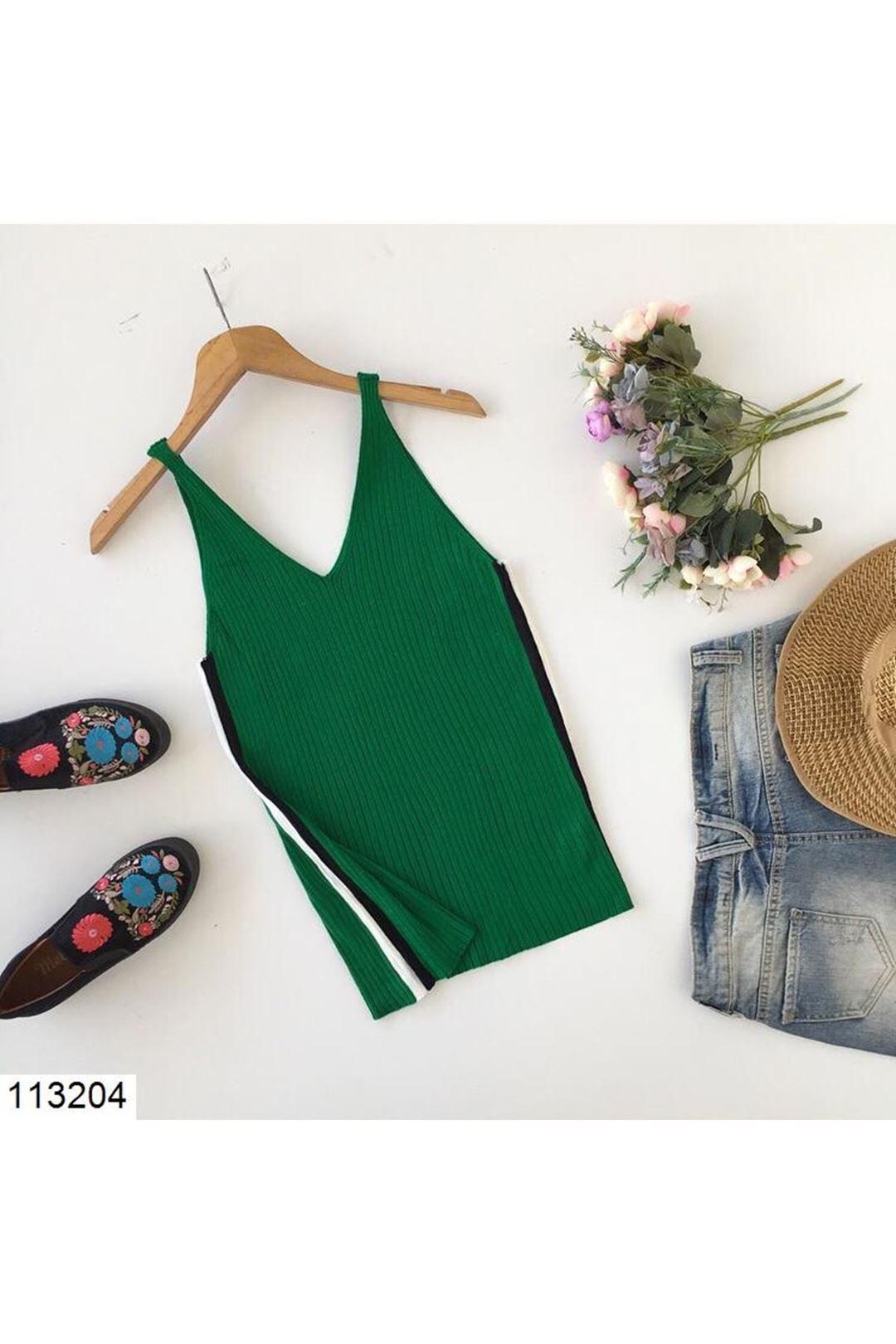 V Yaka Yeşil Kadın Triko Bluz 113204