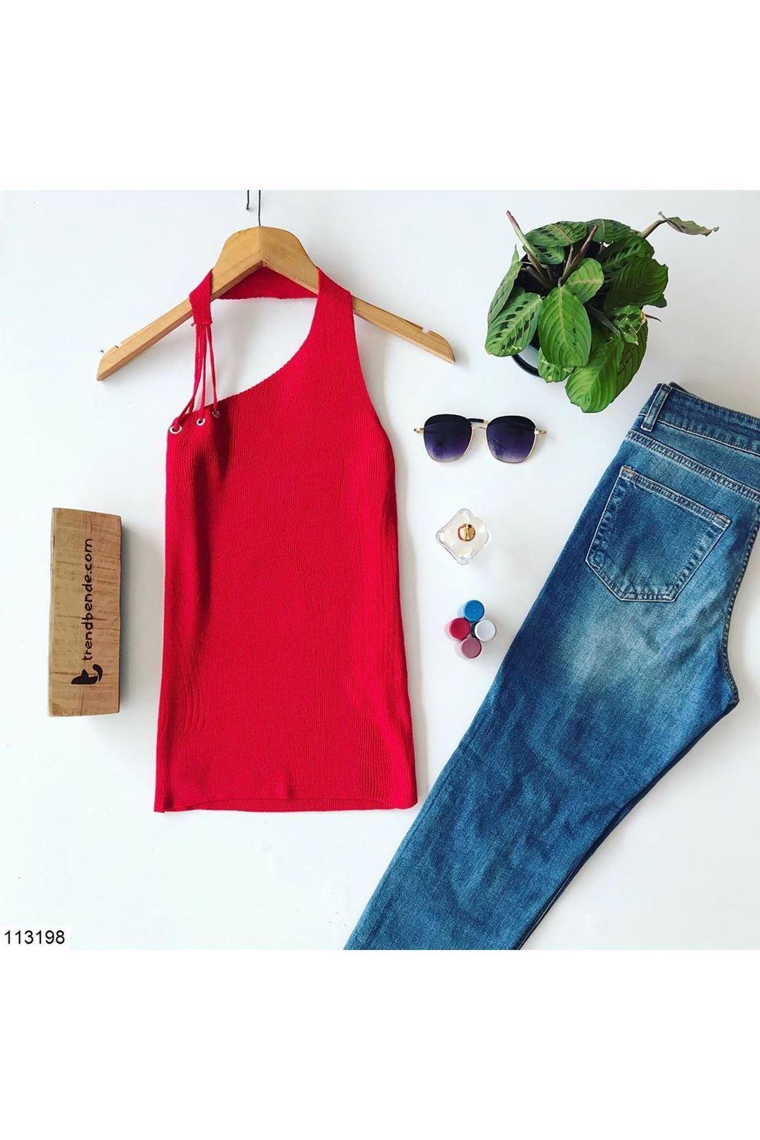 Yaka Detaylı Kırmızı Kadın Triko Bluz 113198