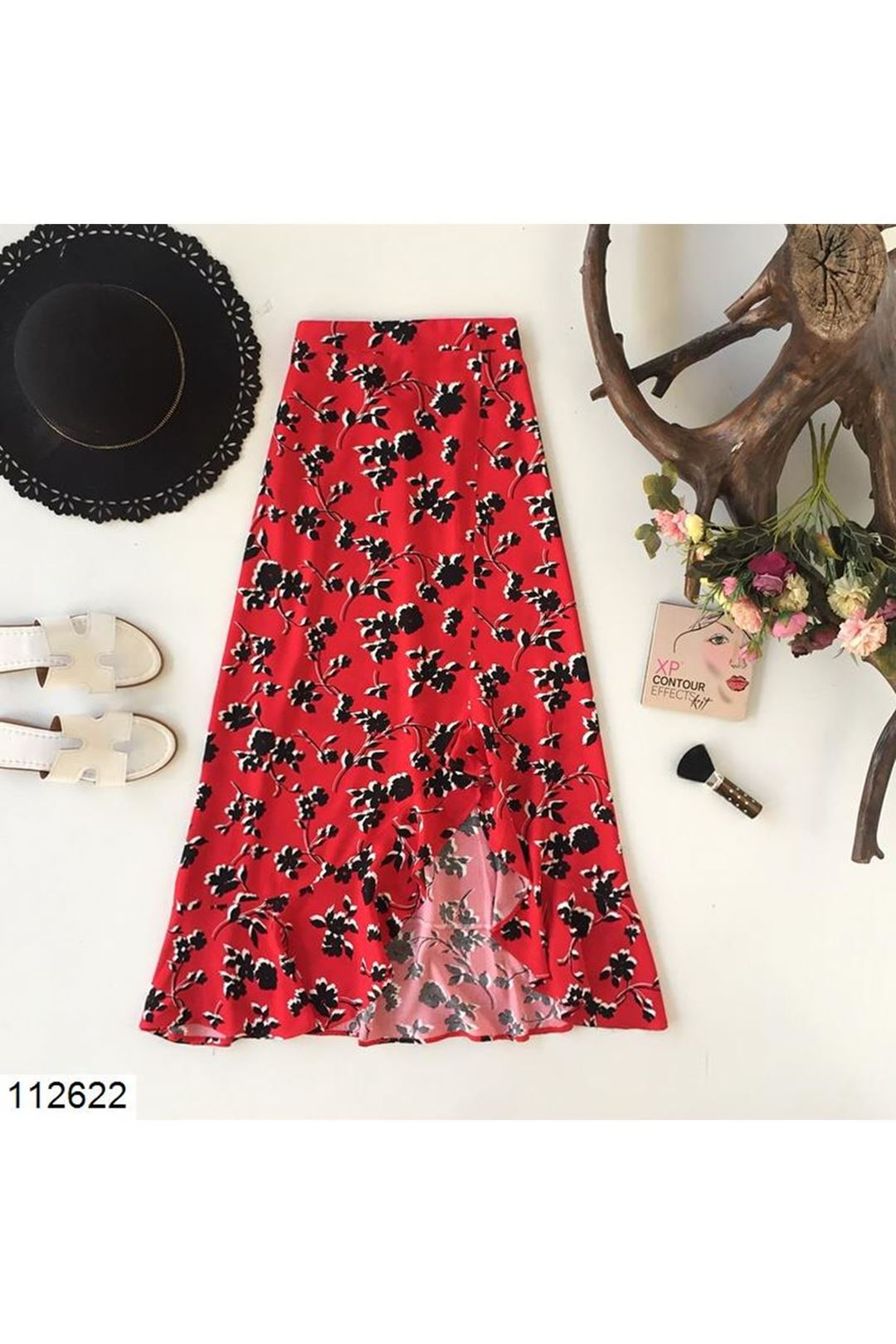 Çiçek Desenli Yırtmaçlı Kırmızı Midi Boy Kadın Etek 112622