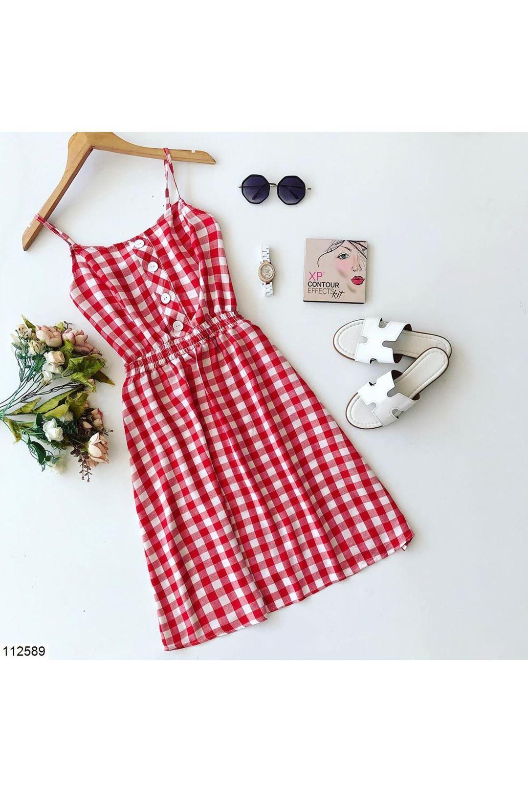 Önü Düğmeli Ekose Kırmızı Kısa Kadın Elbise 112589