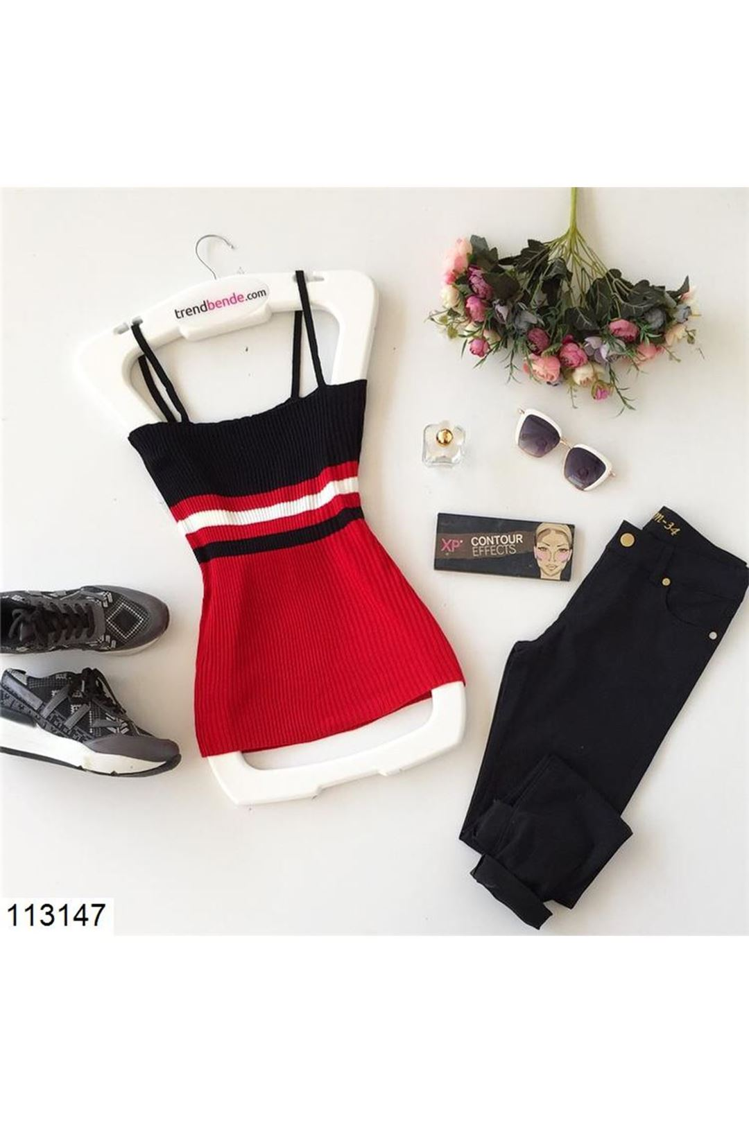 Askılı Siyah Çizgili Kadın Triko Bluz 113147