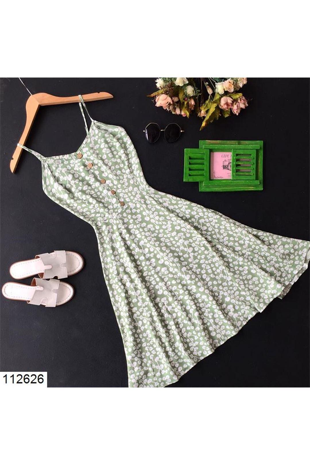 Çiçek Desenli Yeşil Kısa Kadın Elbise 112626