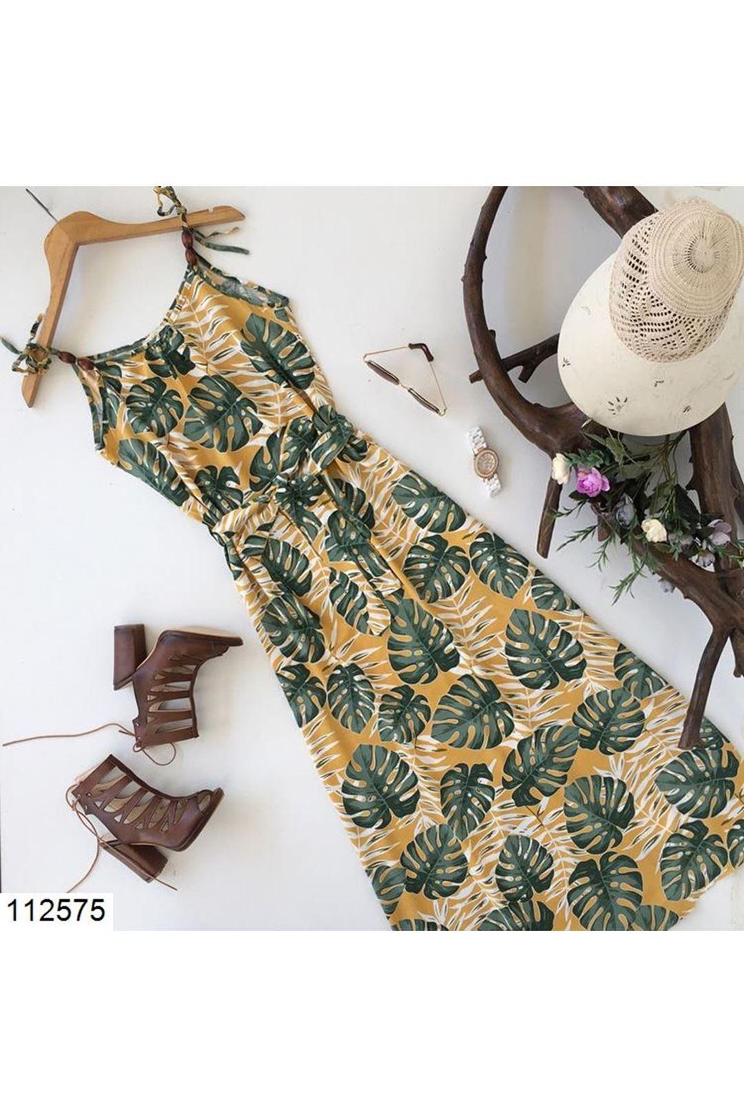 Çiçek Desenli Askılı Kuşaklı Kadın Elbise 112575