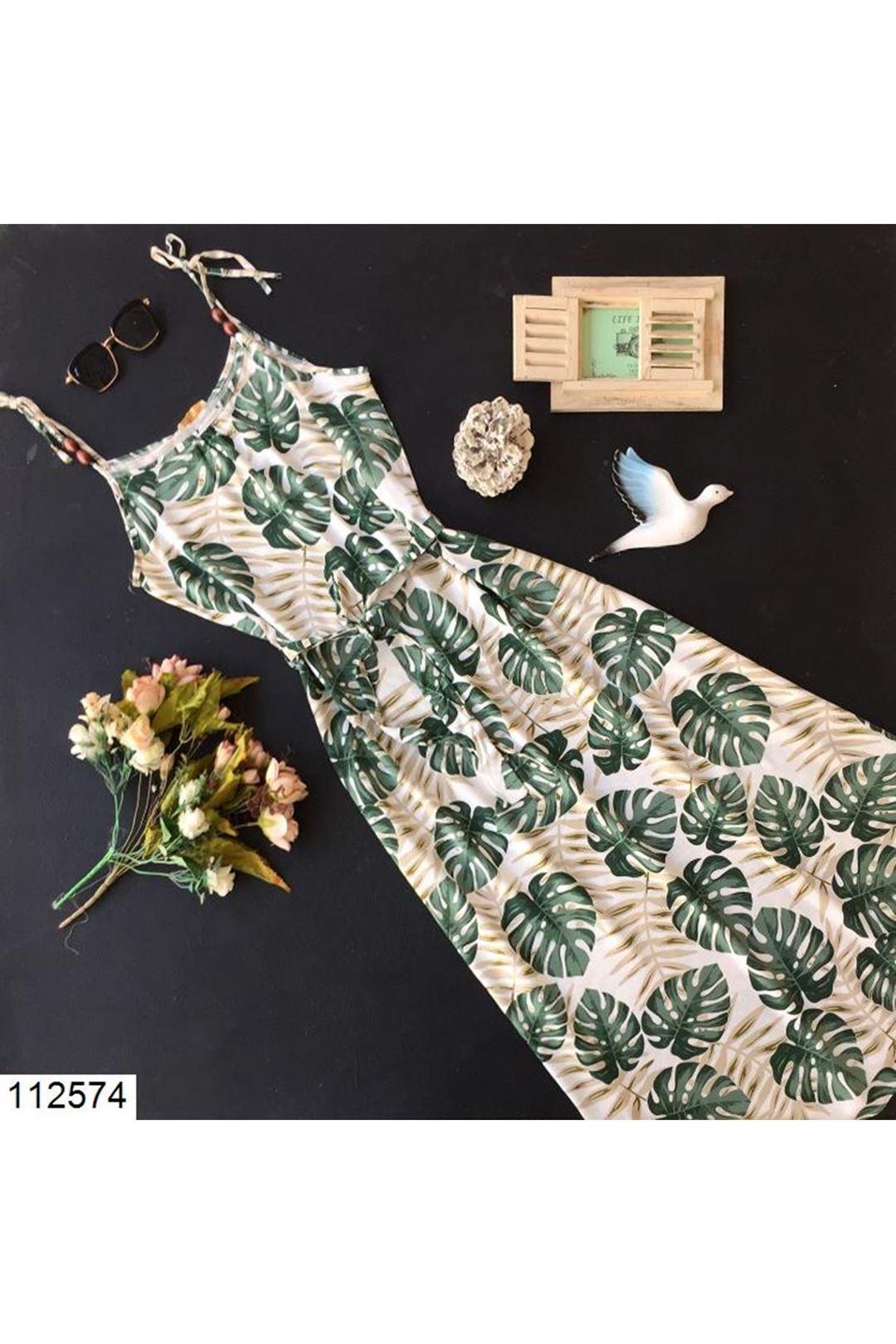 Çiçek Desenli Askılı Kuşaklı Kadın Elbise 112574