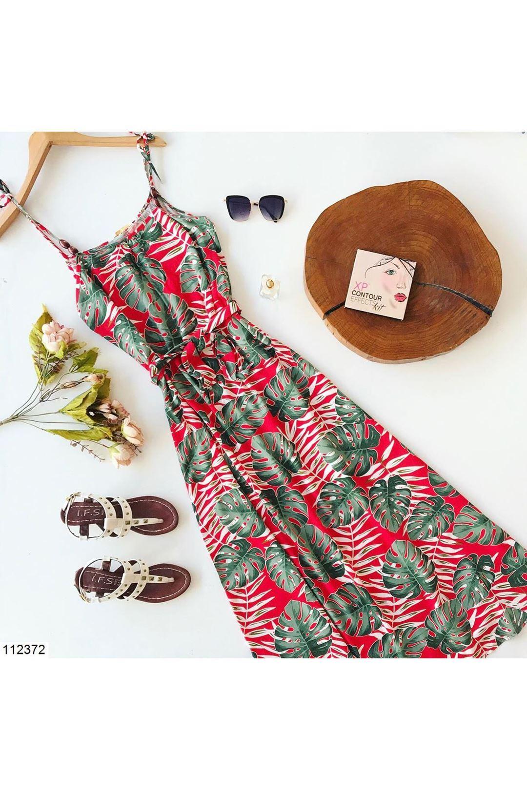 Çiçek Desenli Askılı Kuşaklı Kadın Elbise 112372