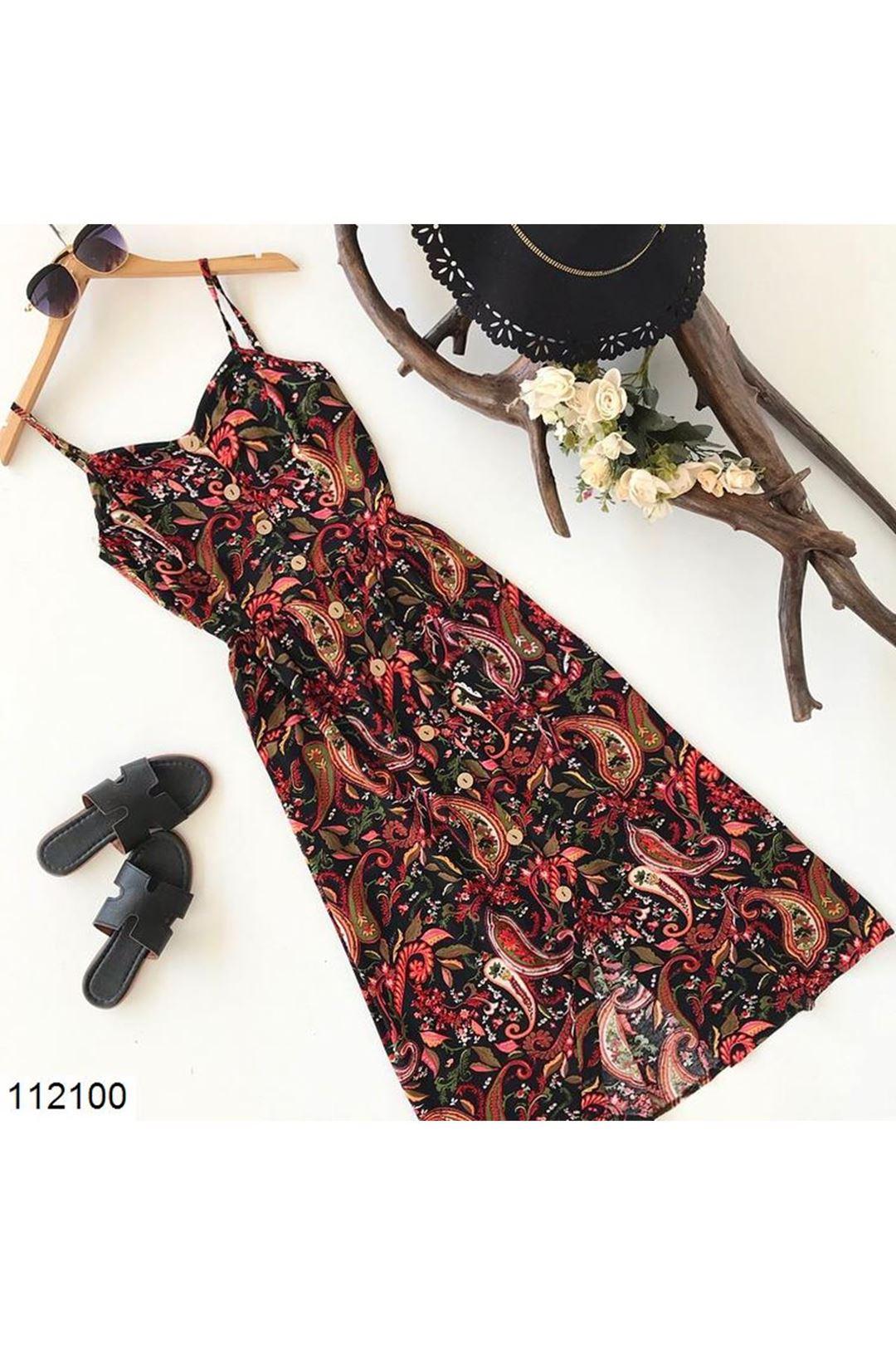 Önü Düğmeli Midi Boy Kadın Elbise  112100