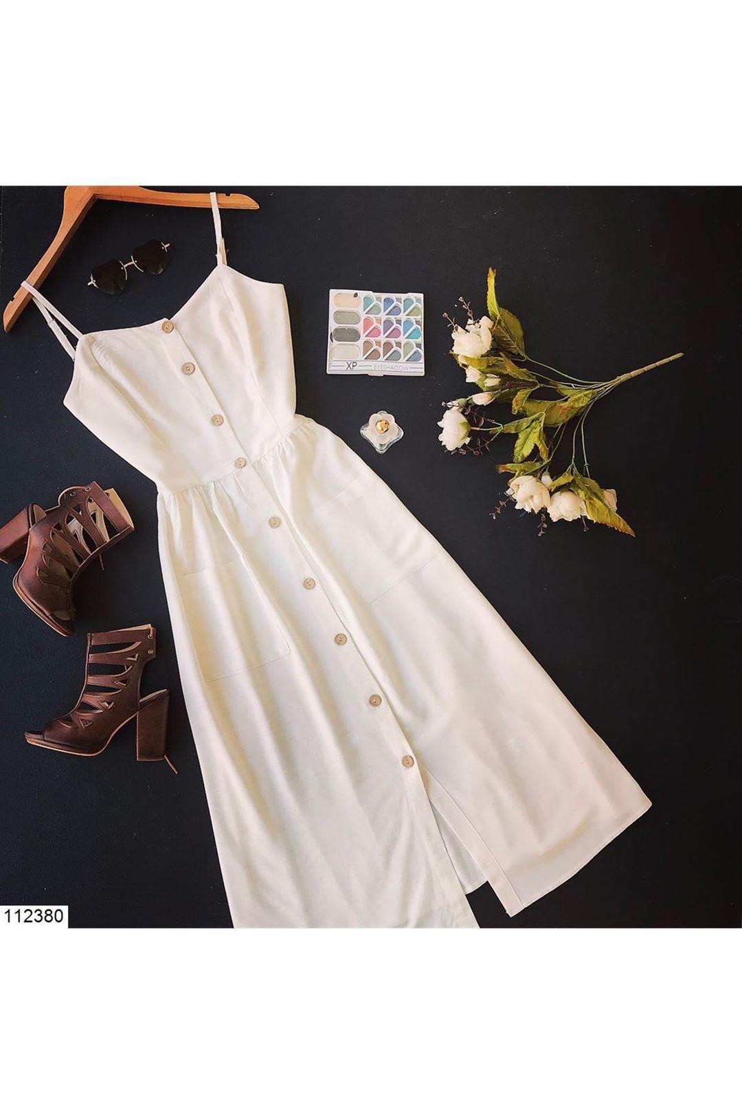 İp Askılı Cepli Ekru Kadın Elbise 112380