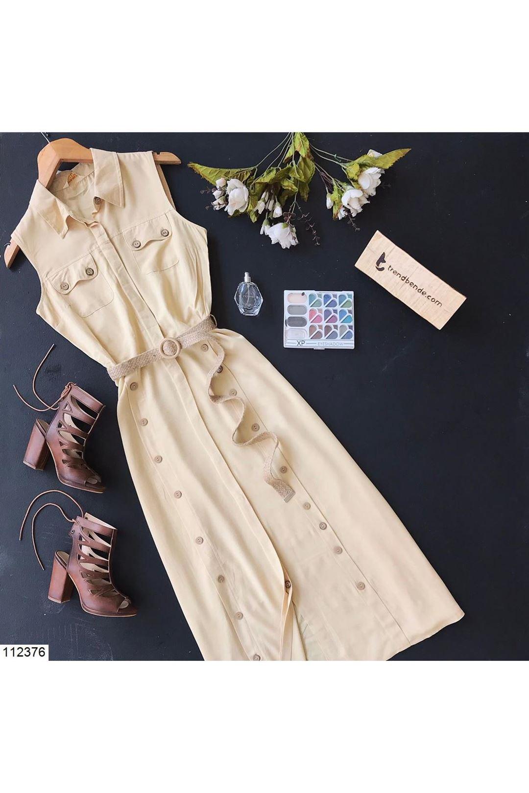 Gömlek Yaka Kemerli Sarı Kadın Elbise 112376