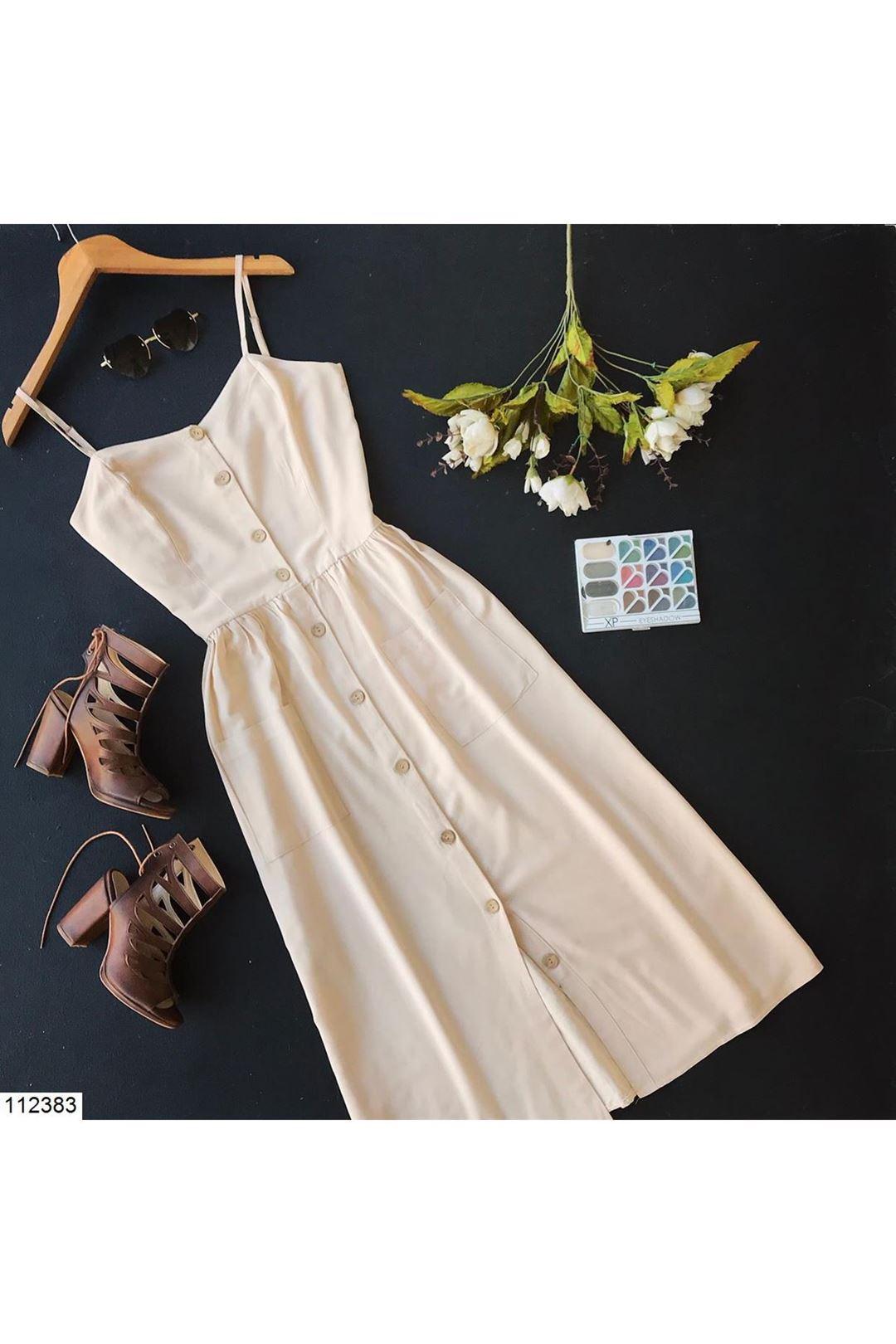 İp Askılı Cepli Bej Kadın Elbise 112383