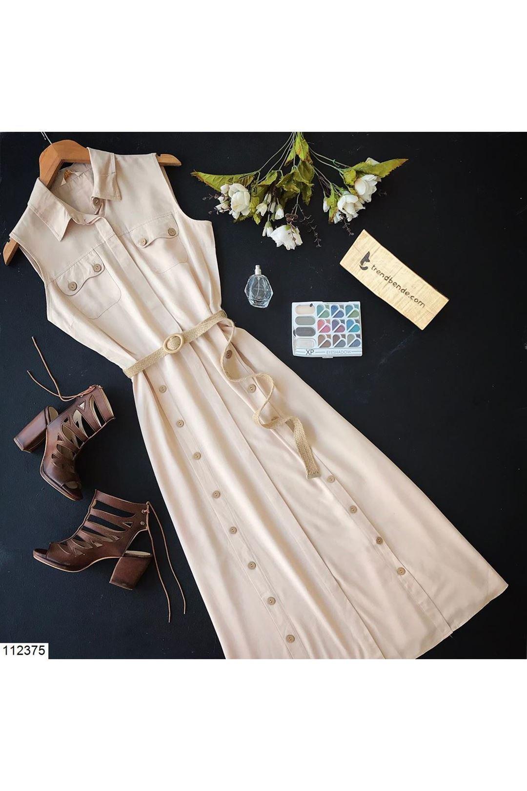 Gömlek Yaka Kemerli Bej Kadın Elbise 112375