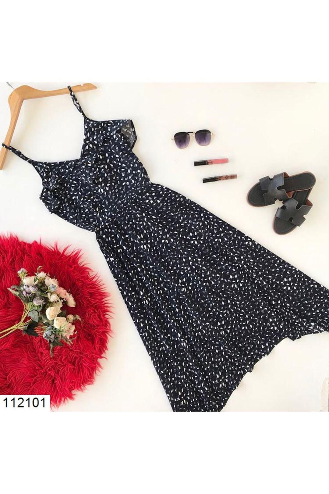 Yaka Fırfırlı Siyah Kadın Elbise  112101