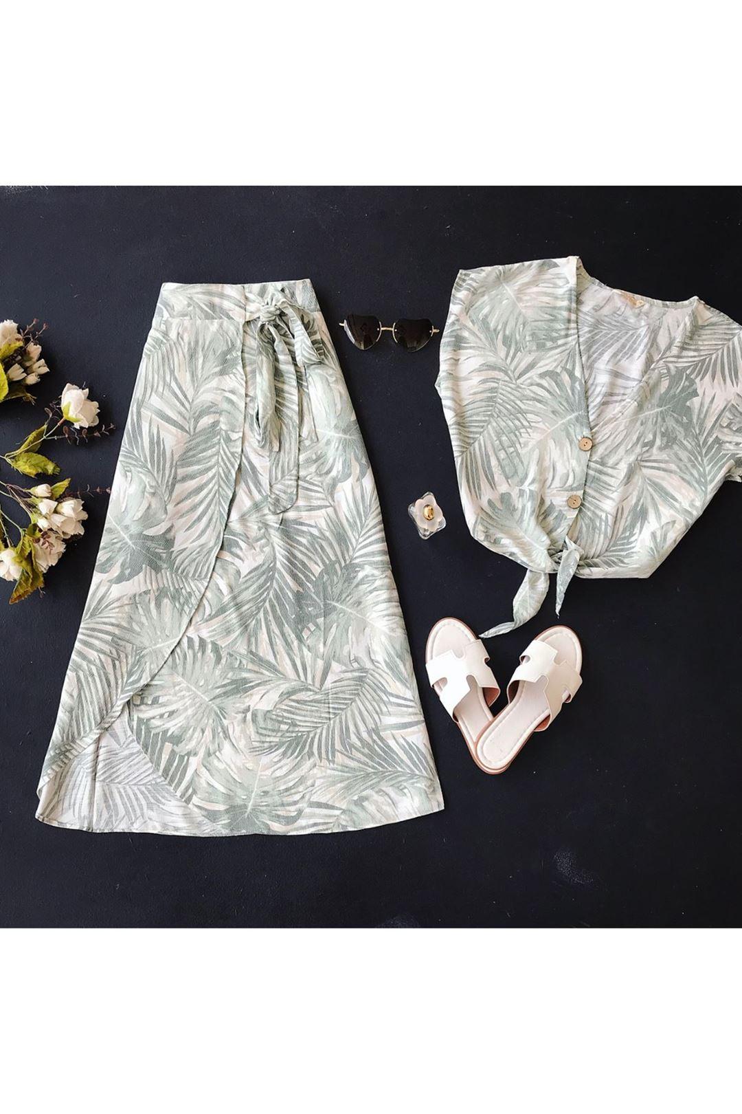 Desenli Kadın Yeşil Etek Bluz Takım  111835
