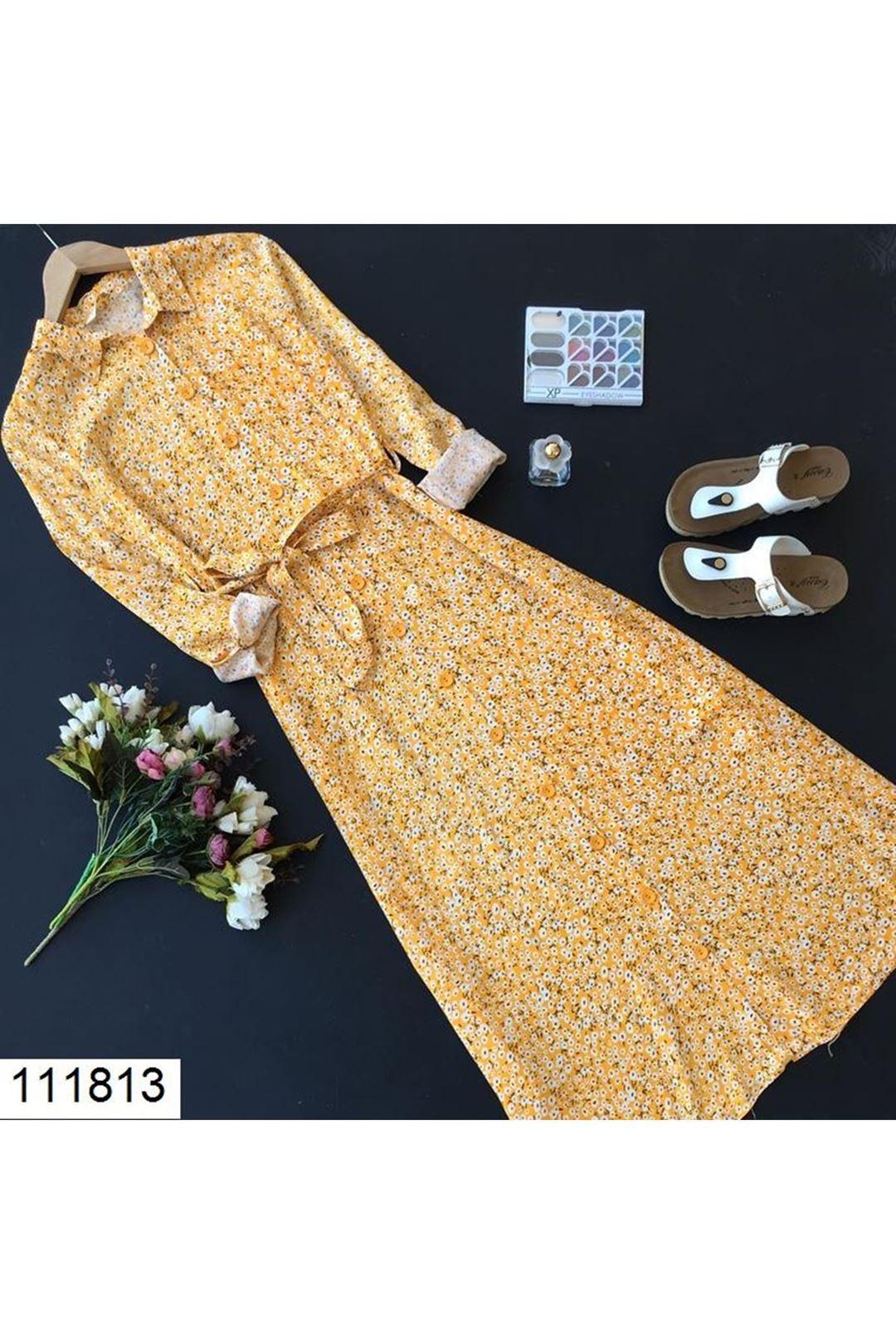 Çiçek Desenli Midi Boy Sarı Kadın Elbise 111813