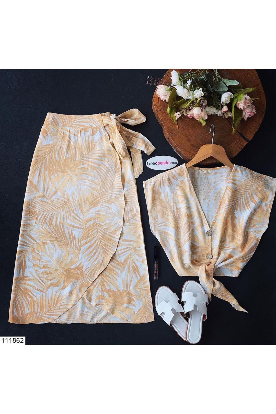 Desenli Kadın Sarı Etek Bluz Takım 111862