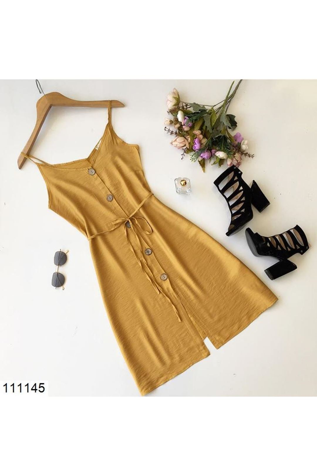 İp Askılı Hardal Kısa Kadın Elbise 111145