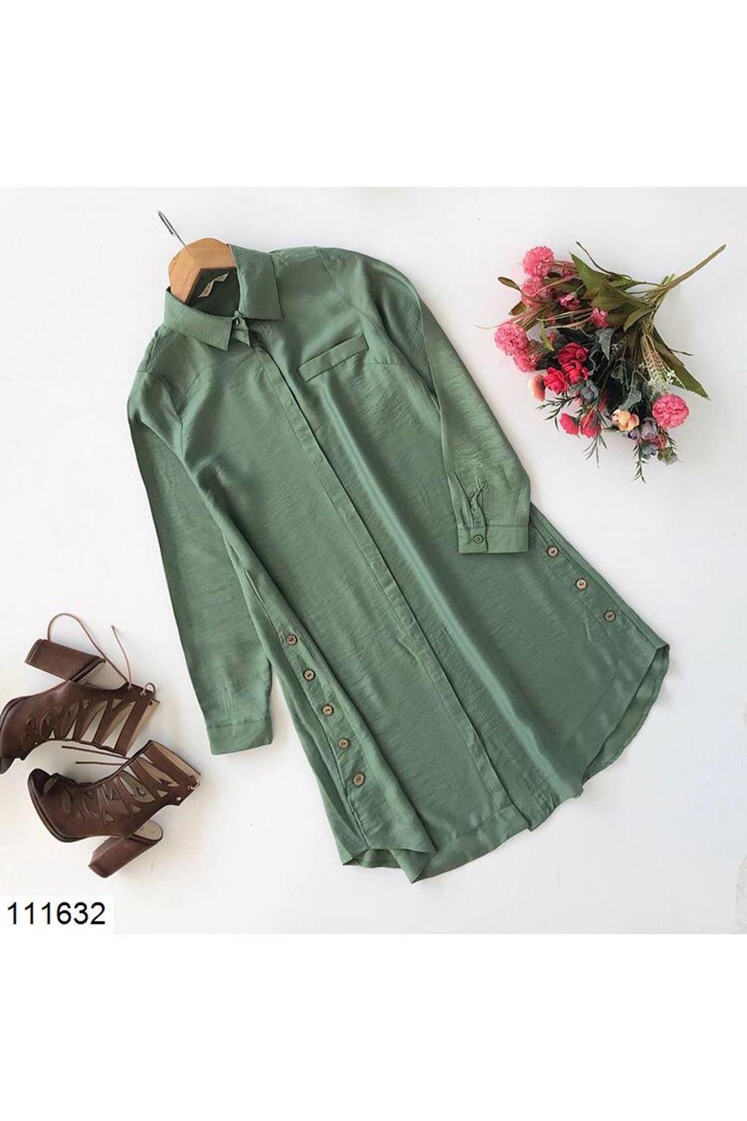 Haki Düğme Detaylı Kadın Tunik Gömlek 111632