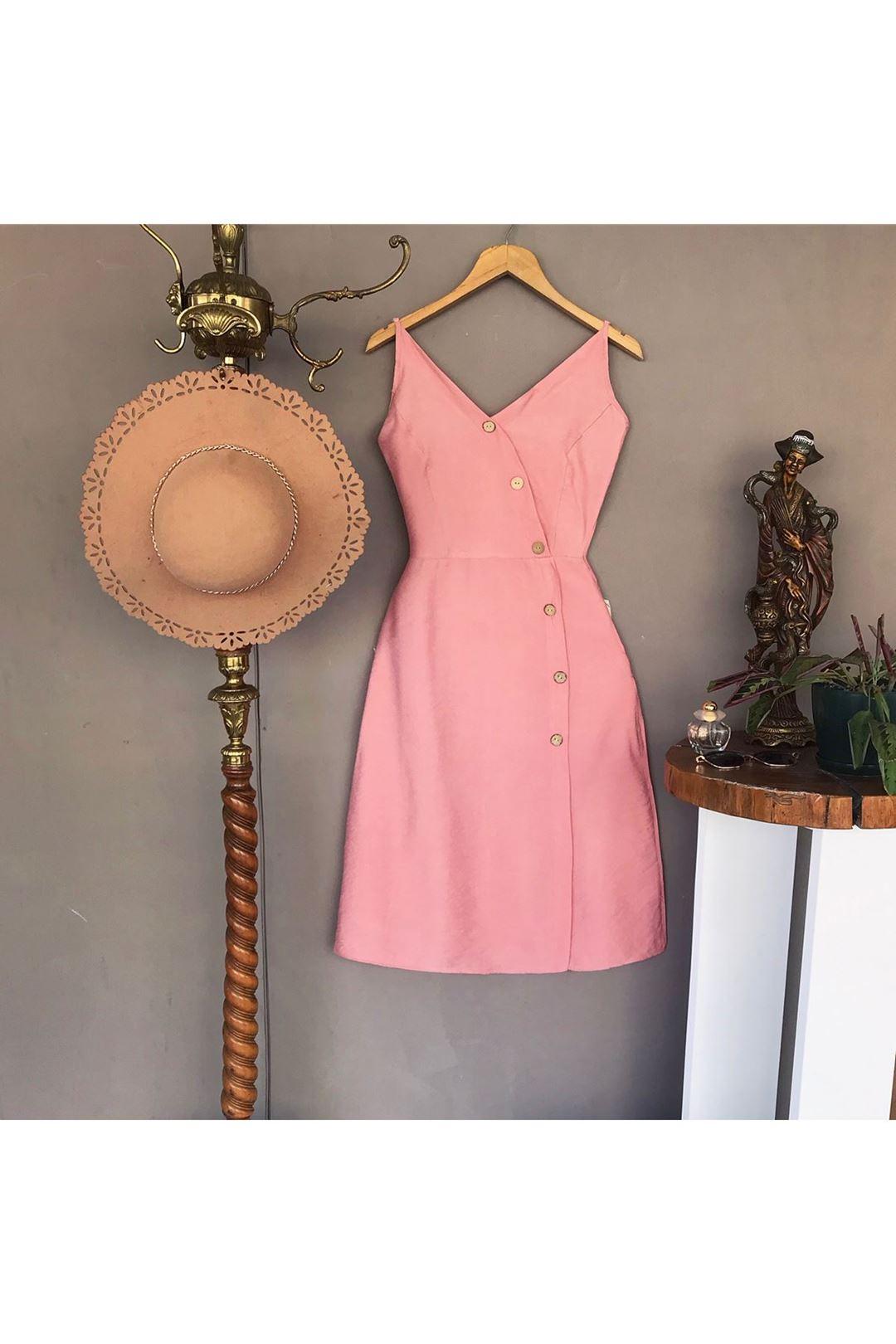 Askılı Çapraz Düğmeli Pudra Kadın Elbise 111373