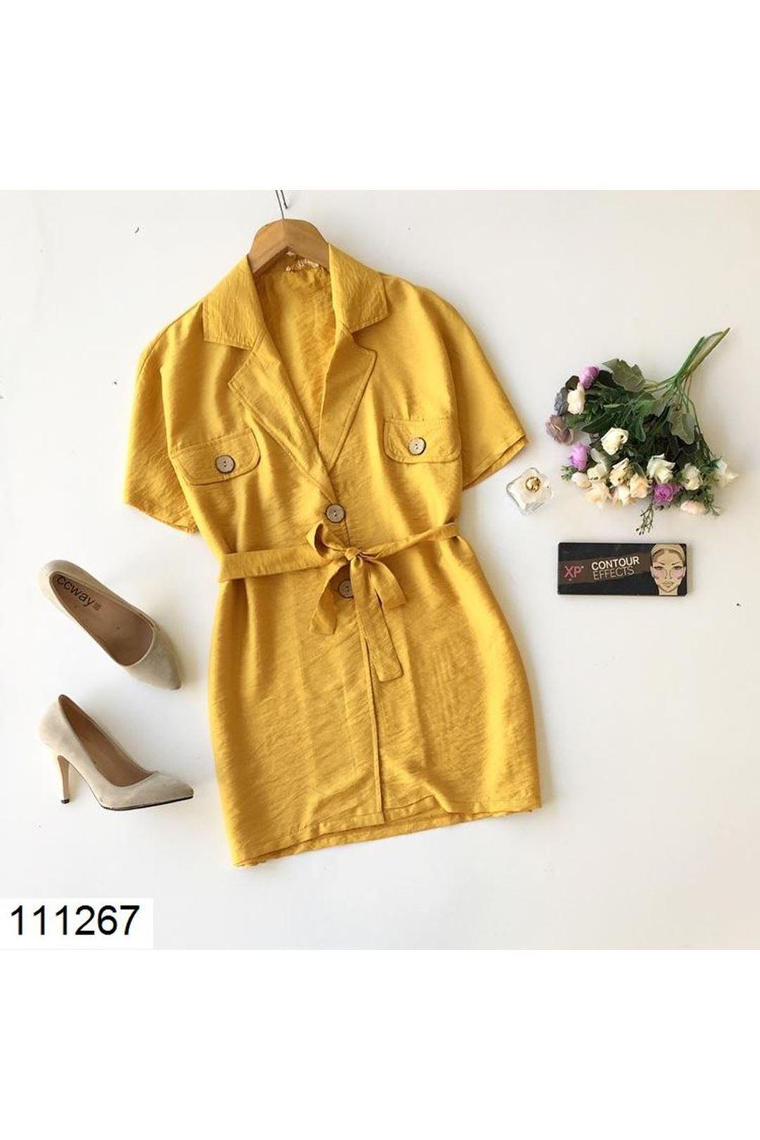 Düğmeli Hardal Kadın Ceket 111267