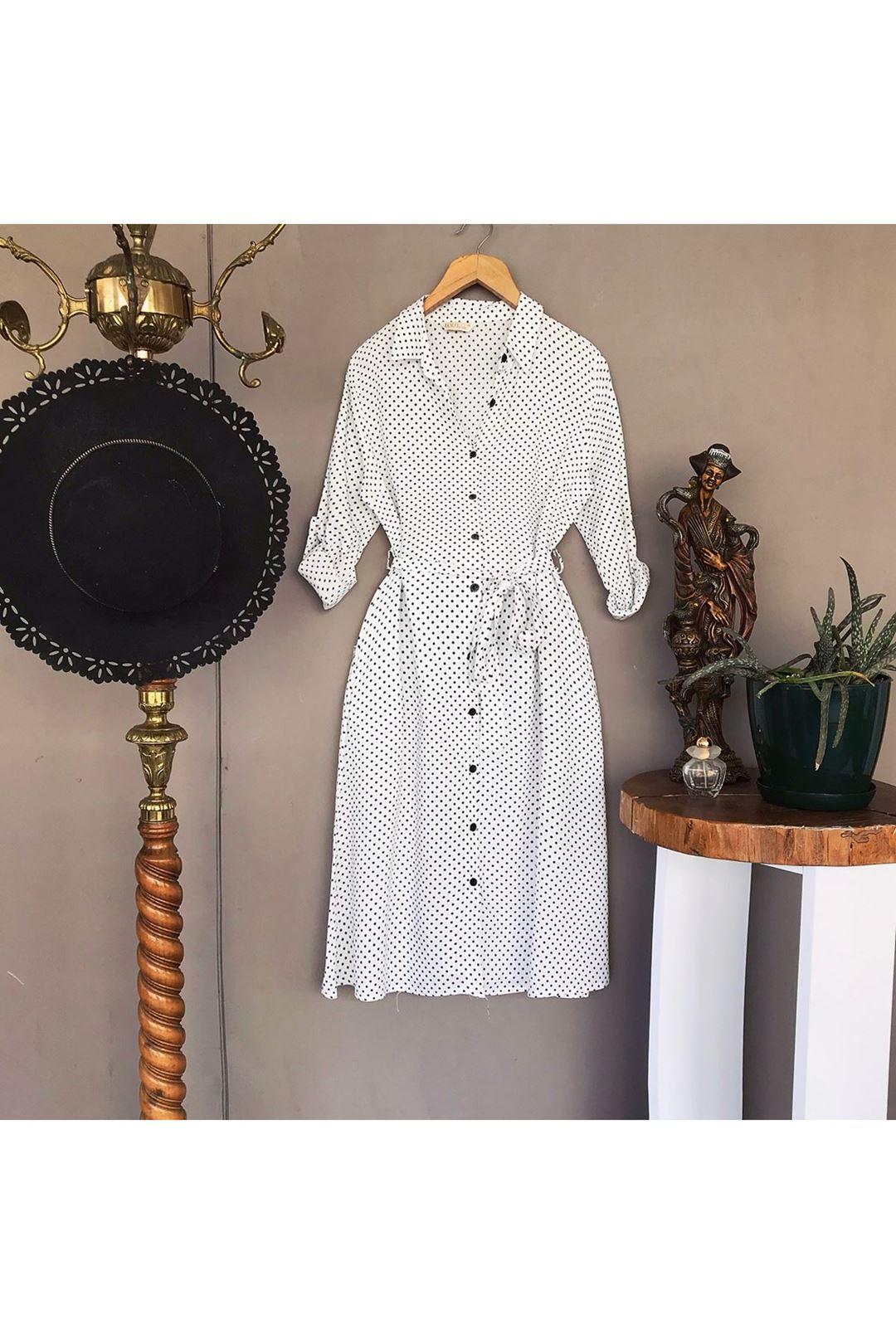 Puantiyeli Uzun Kollu Beyaz Kadın Elbise  111383
