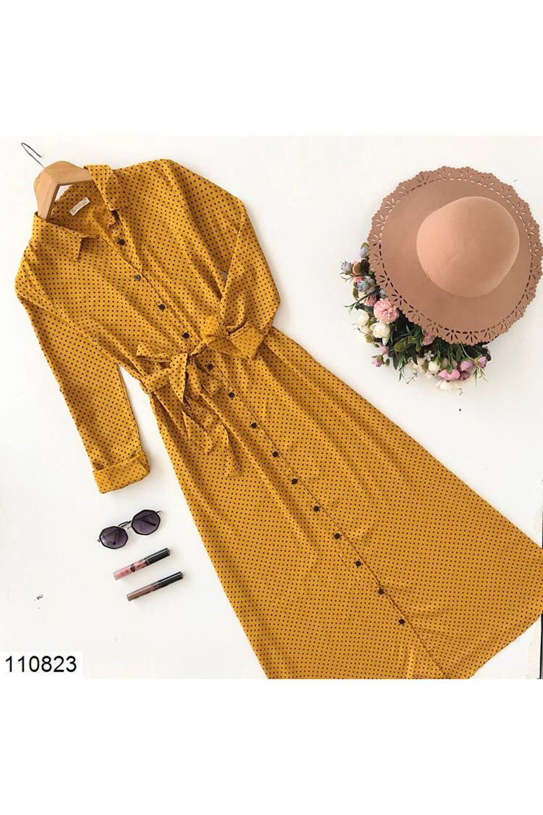 Puantiyeli Hardal Midi Boy Kadın Elbise 110823