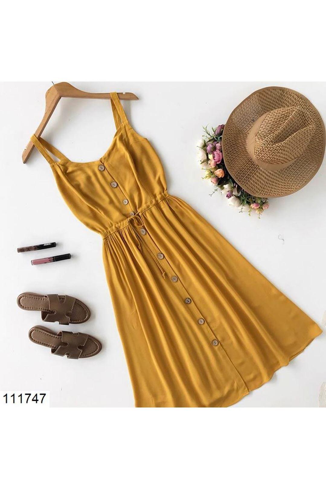 Askılı Önü Düğmeli Hardal Kadın Elbise  111747