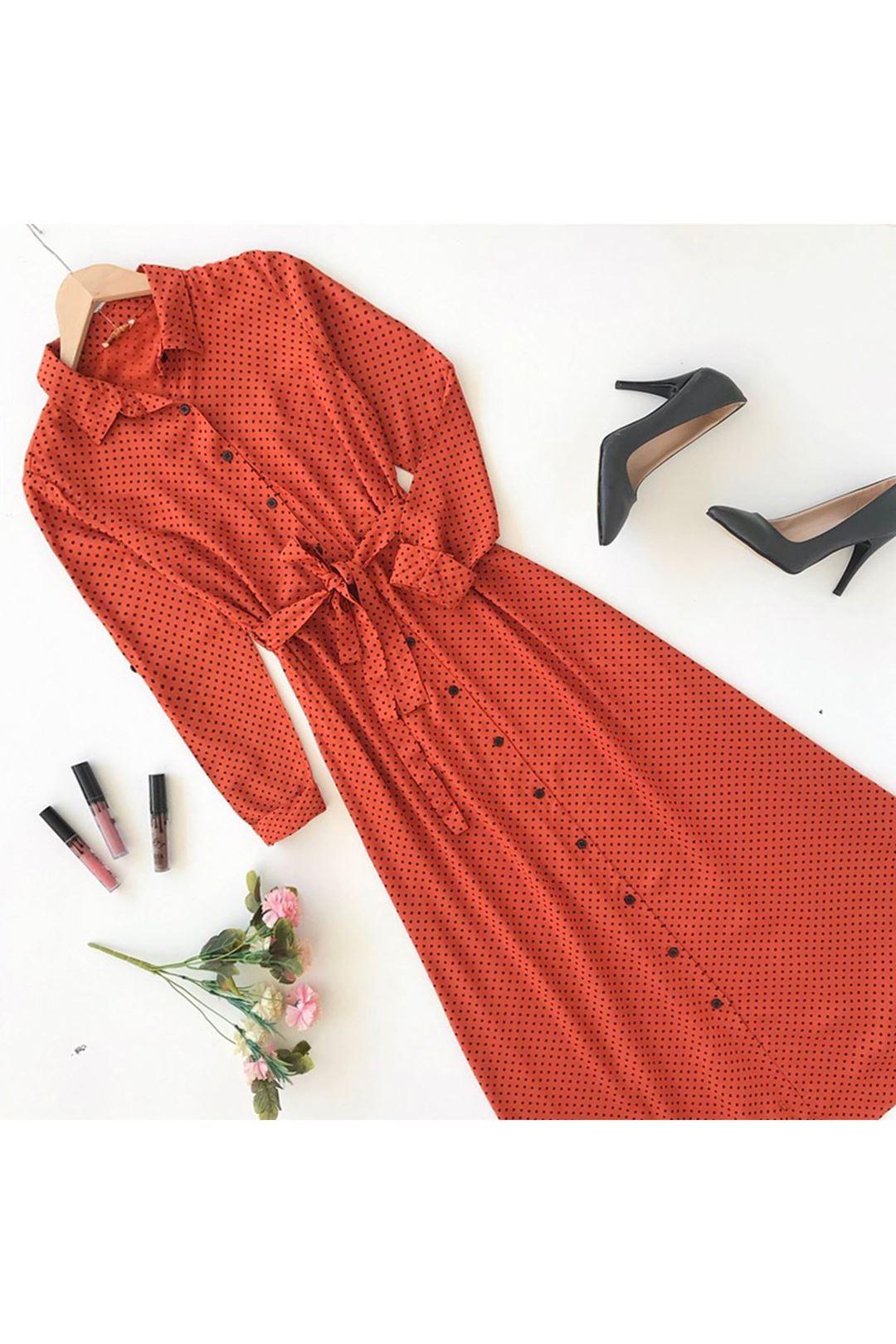 Puantiyeli Kiremit Midi Boy Kadın Elbise 110821