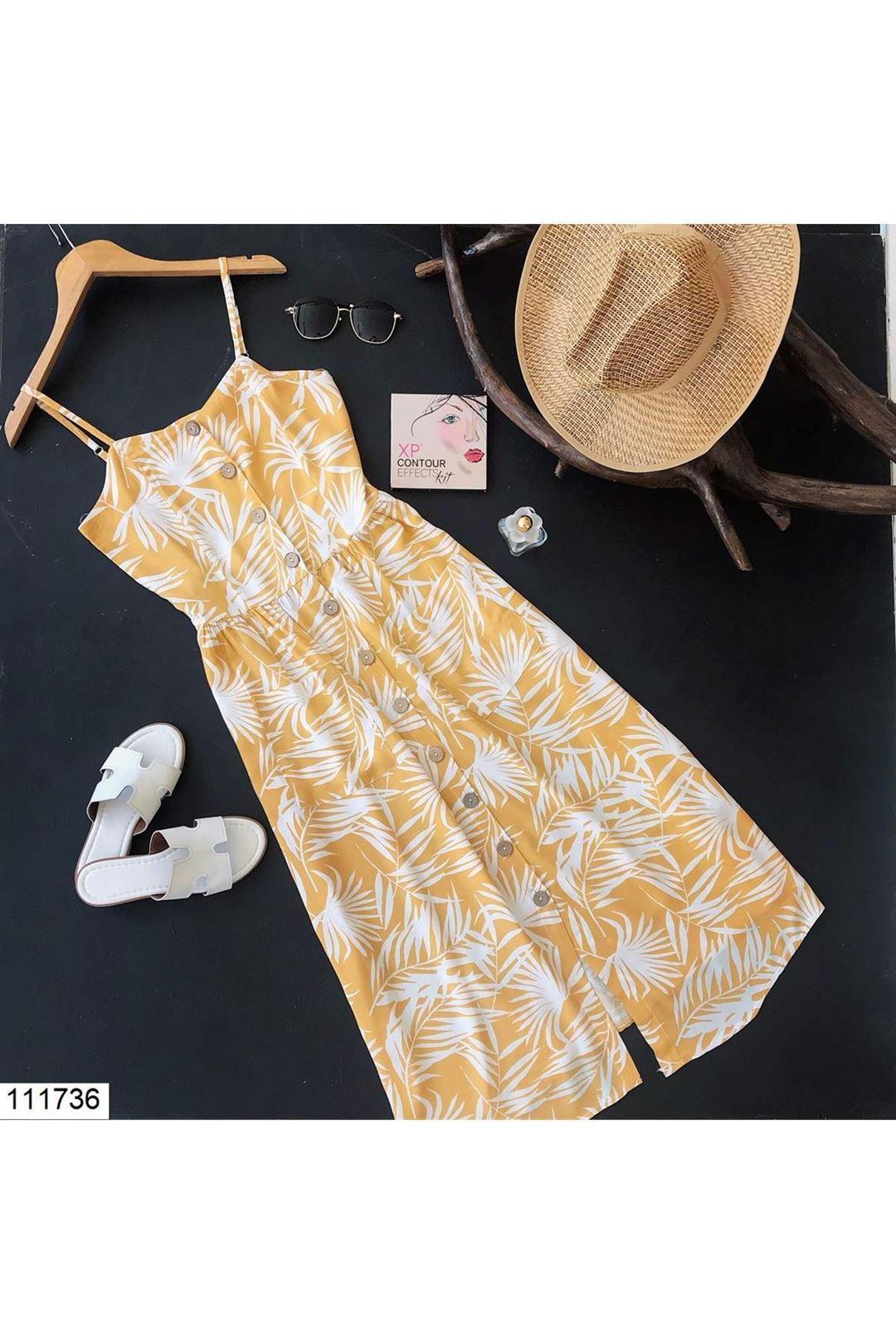 Önü Düğmeli Cepli Sarı Midi Boy Kadın Elbise 111736